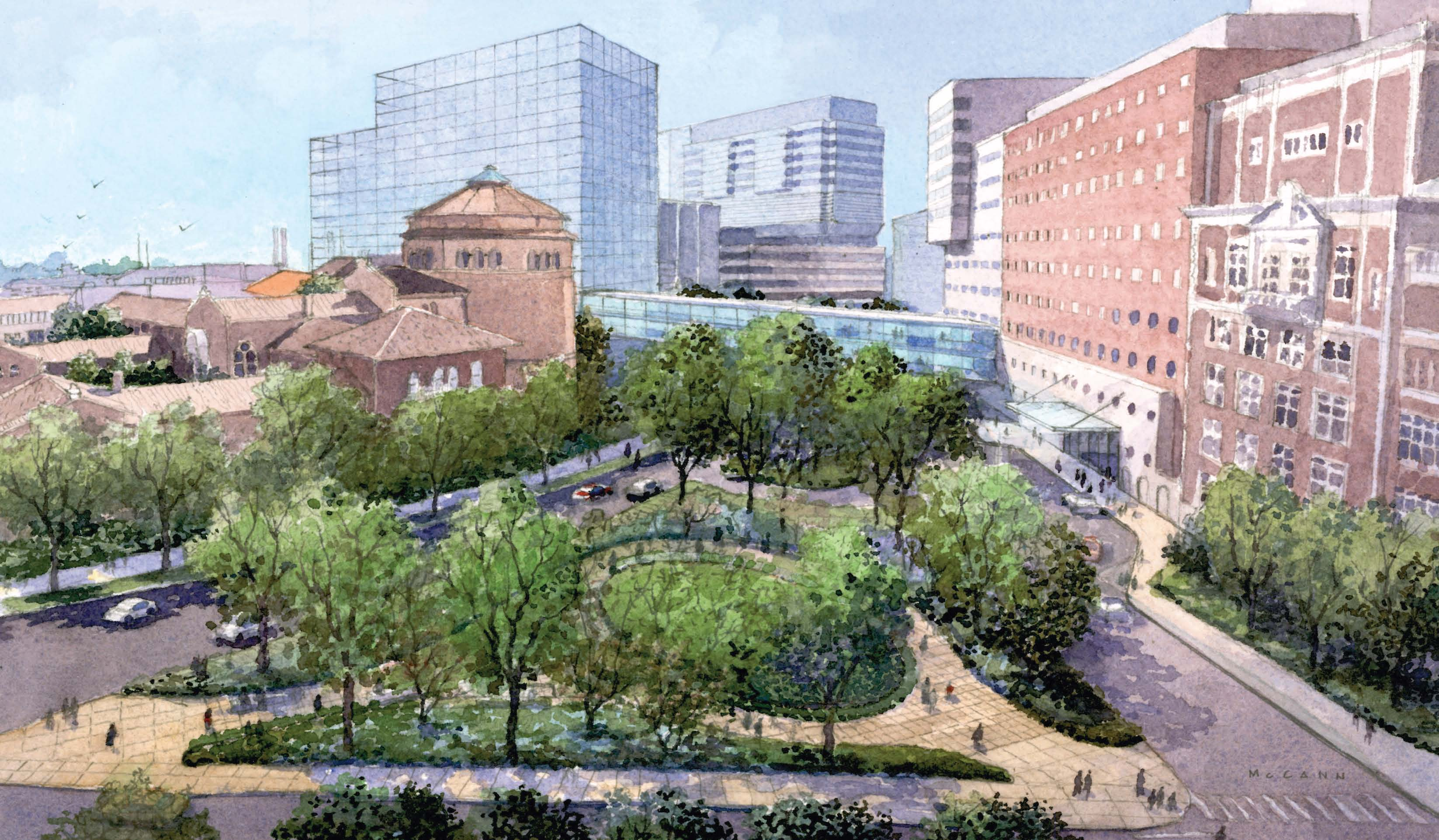 Artist's rendering of Spruce Street Plaza | courtesy Penn Facilities & Real Estate Services