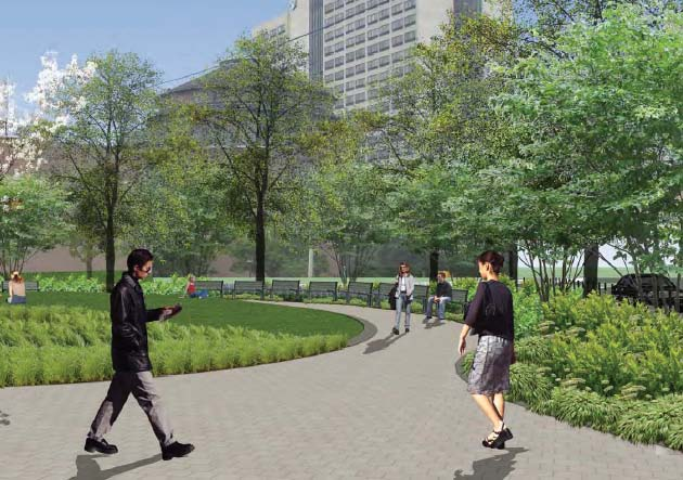 Rendering of Spruce Street Plaza | courtesy Penn Facilities & Real Estate Services