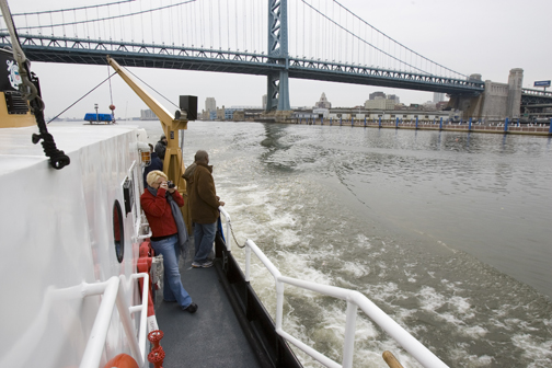 The boat tour passes under the Ben Franklin
