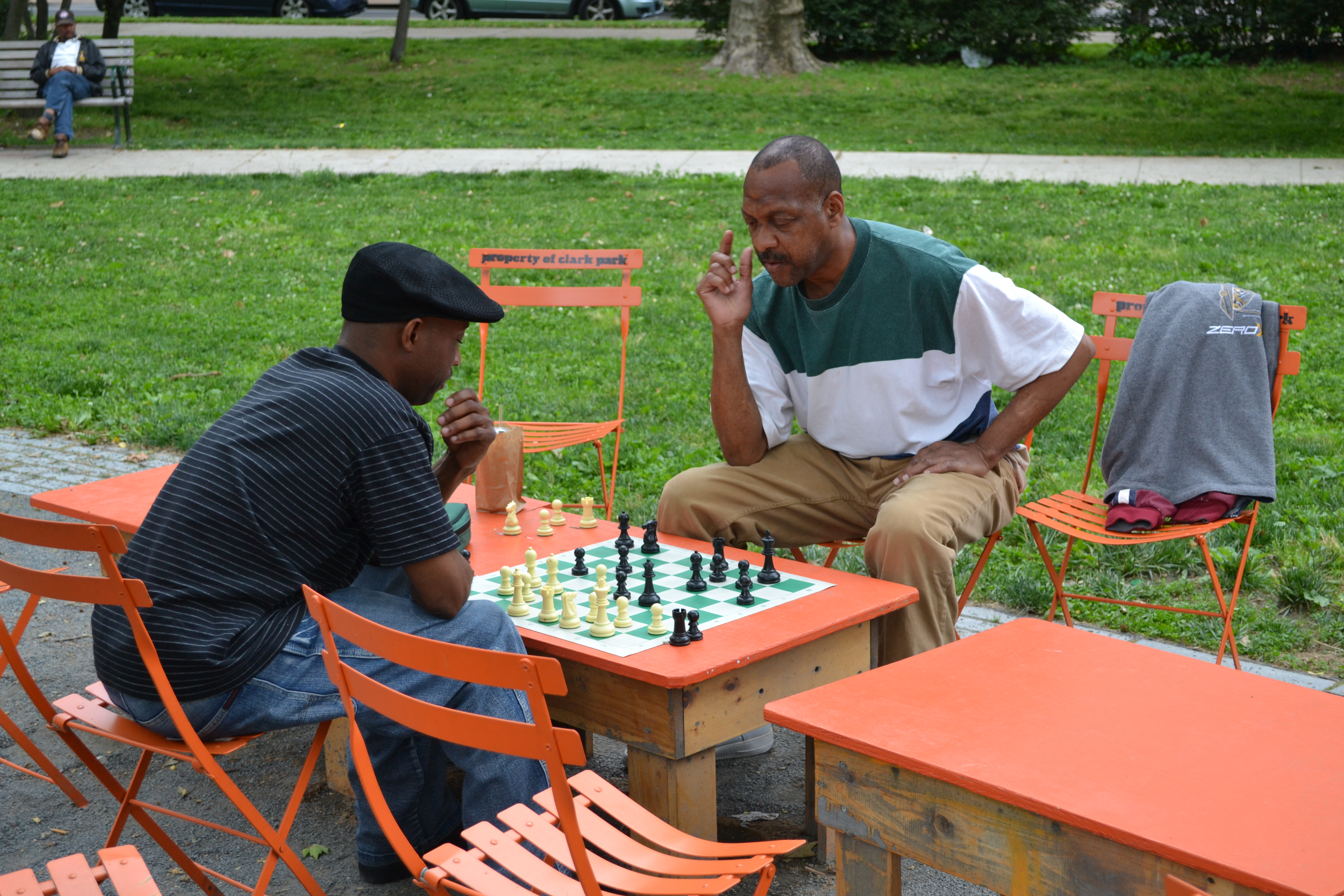 A chess game captivated some park goers