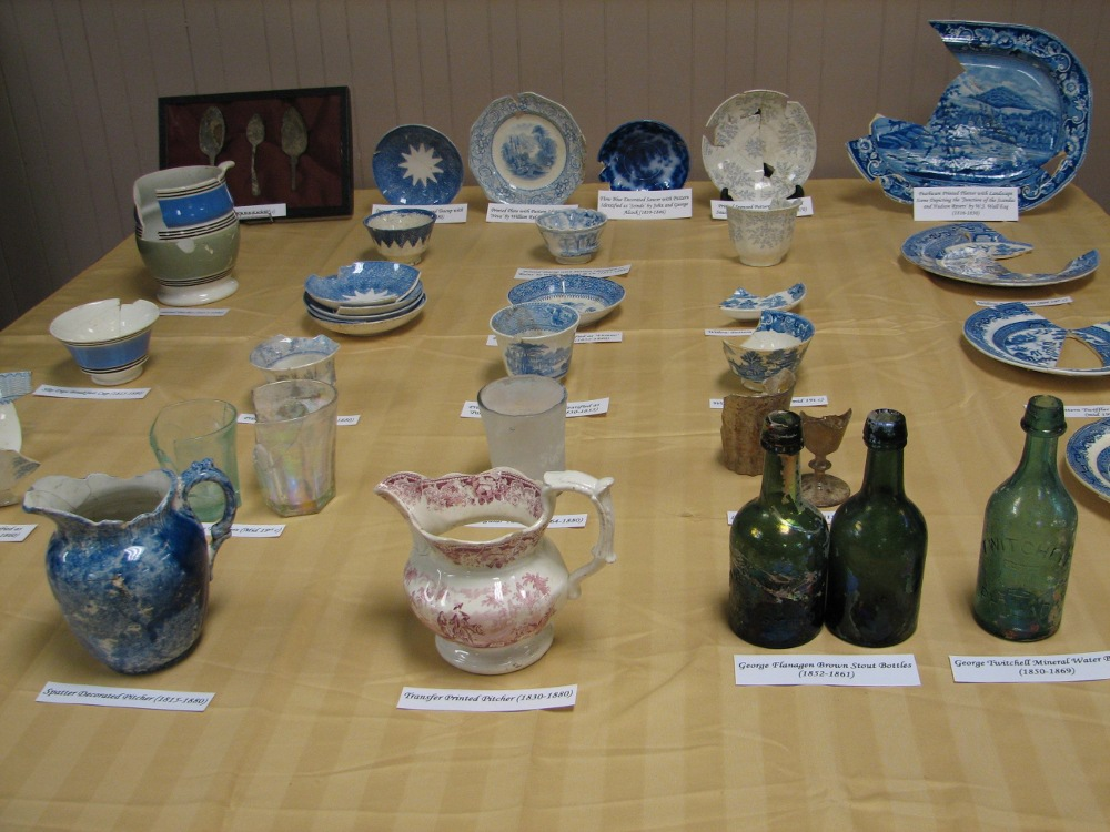 A collection of glass and ceramic items