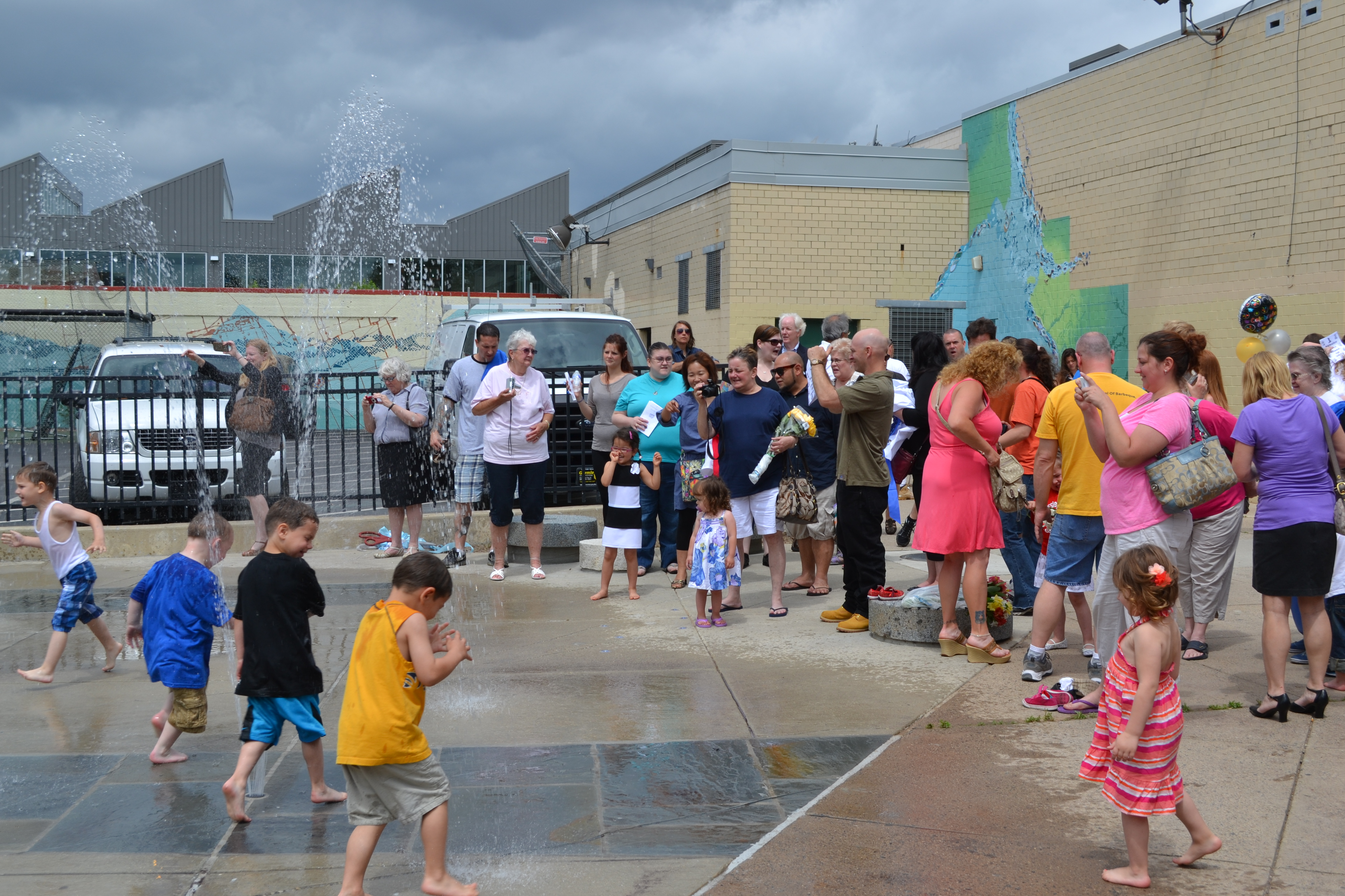 A new sprayground opened at the Shissler Rec Center Thursday