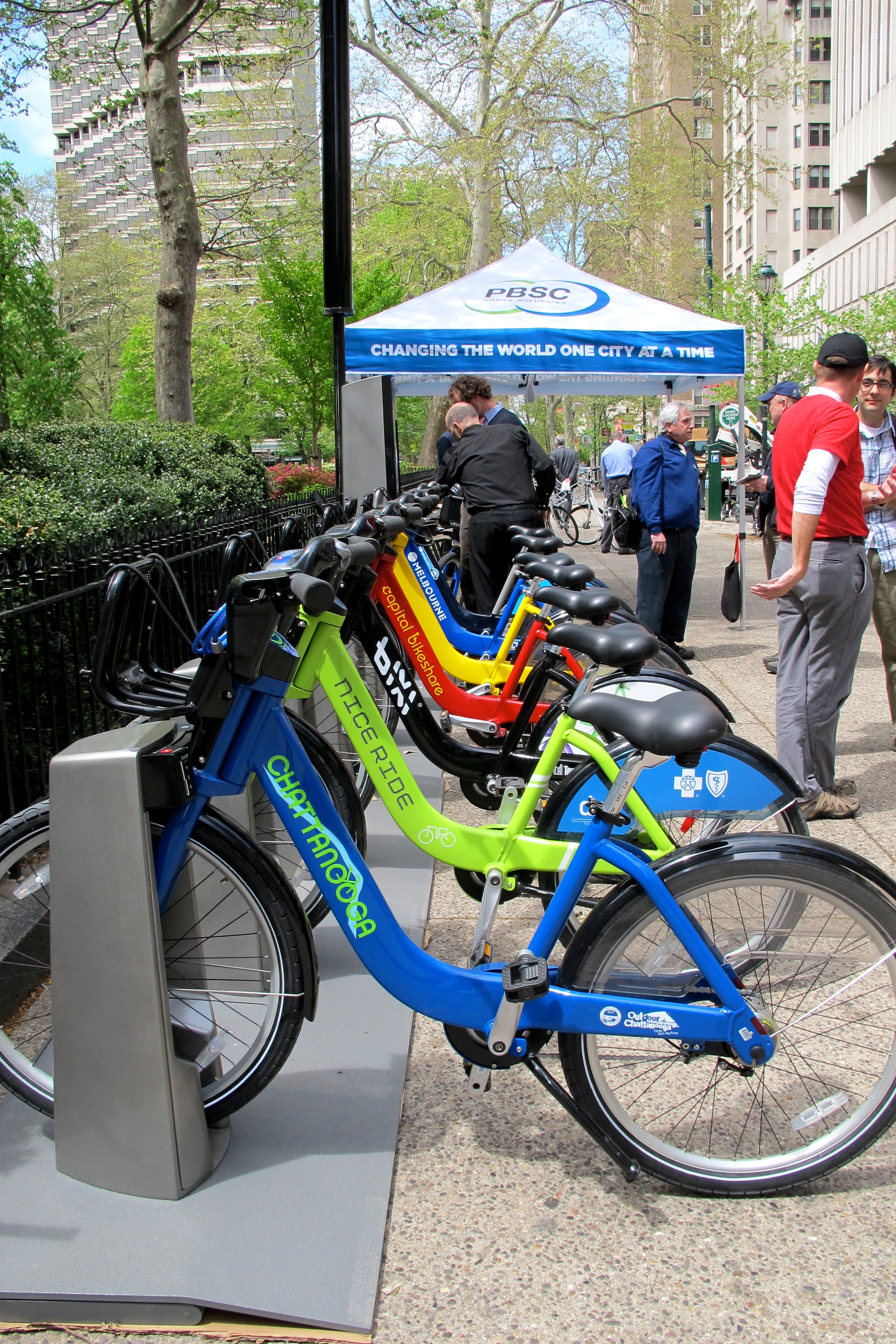Alta / PBSC bike share station with examples from several systems.