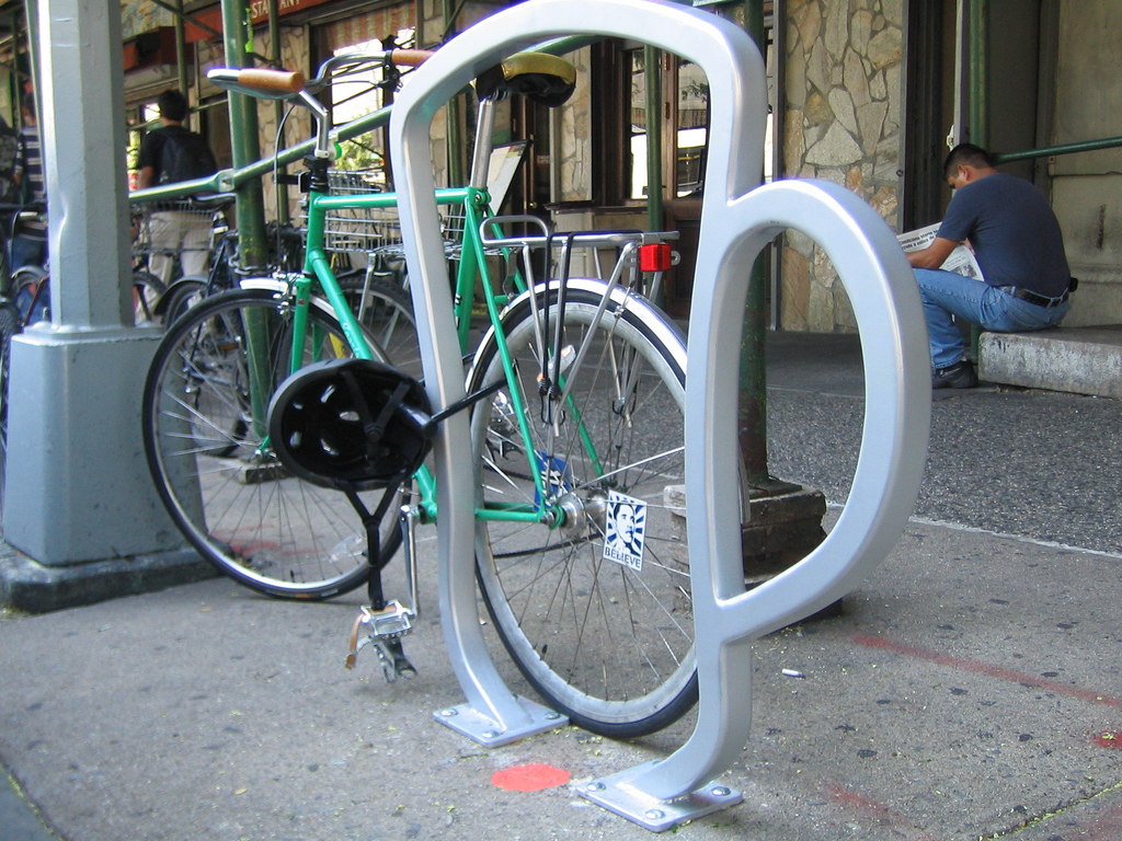 Bike rack in New York designed by David Byrne. | photo by James Hare, Flickr | Creative Commons