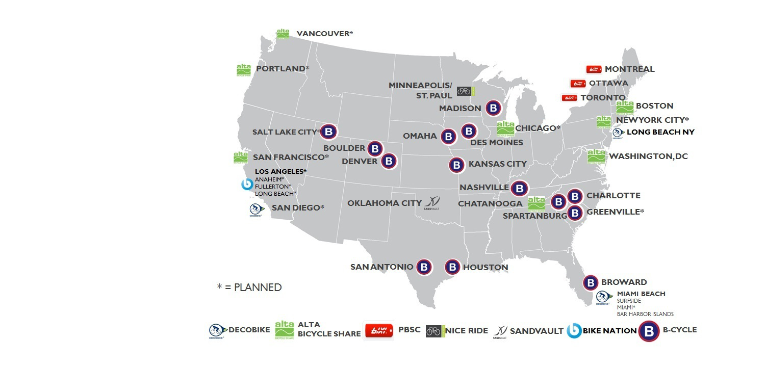 Bike share programs nationwide.