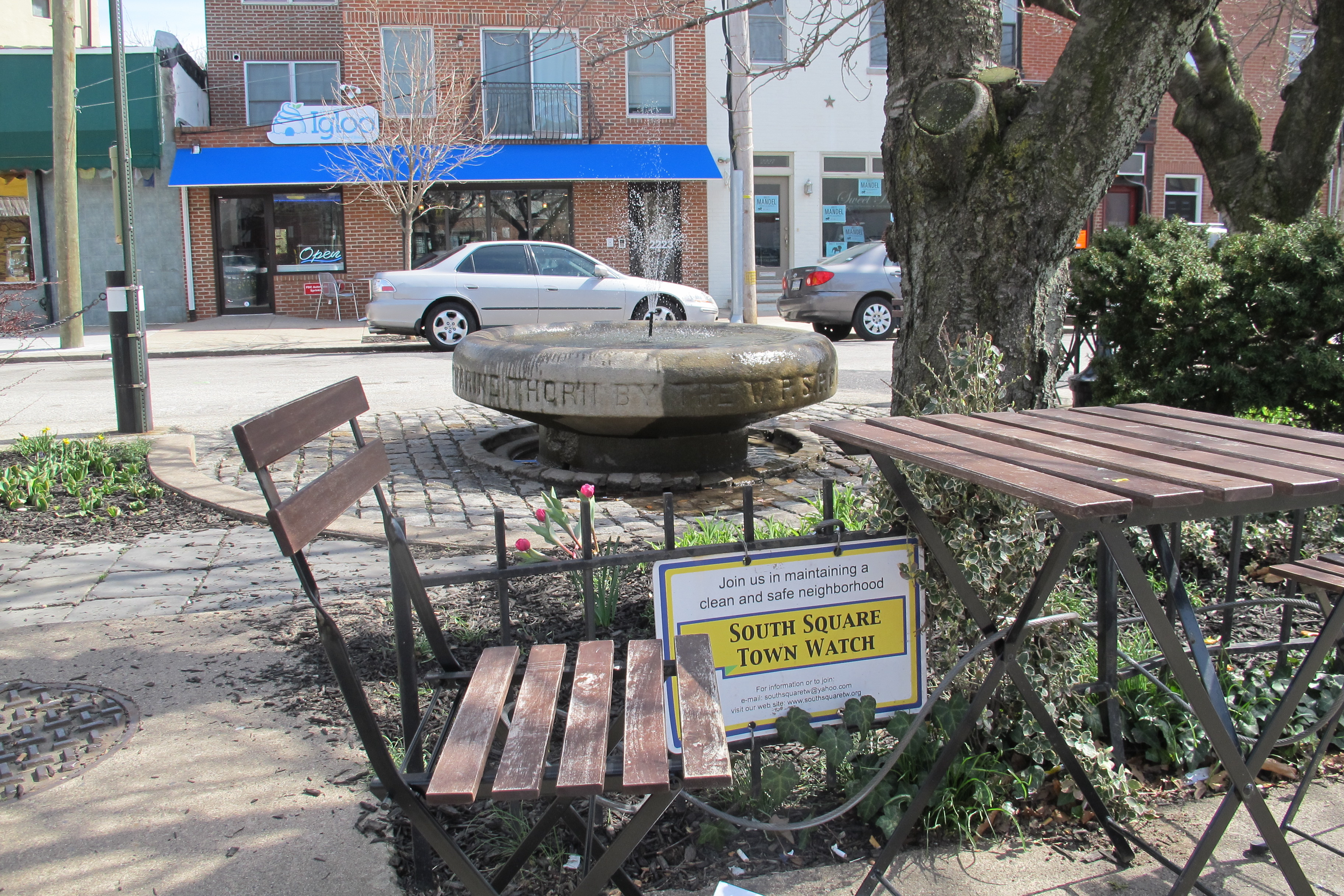 Today the Catharine Thorn fountain anchors one of the Grays Ferry Avenue triangles.