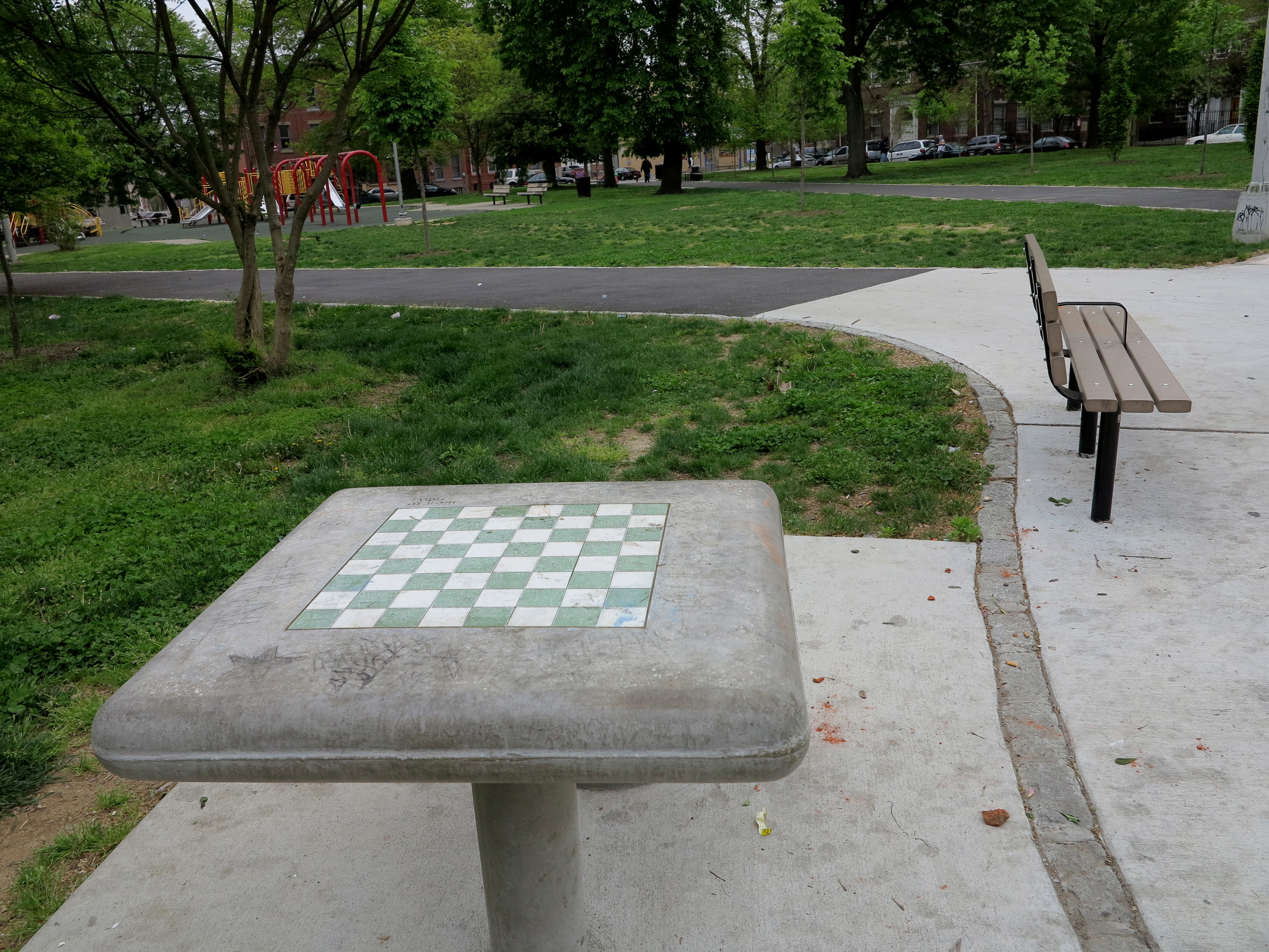 Chess tables and new benches in Fairhill Square