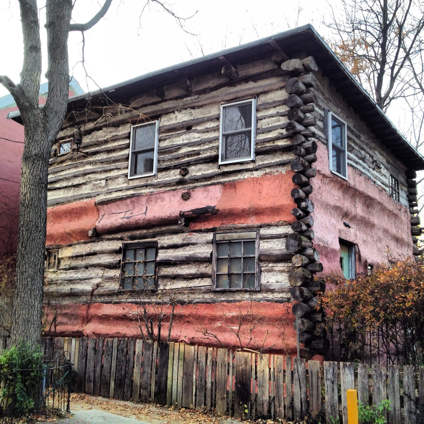 North Lawrence Street's 'log cabin' was built by artist Jeff Thomas.