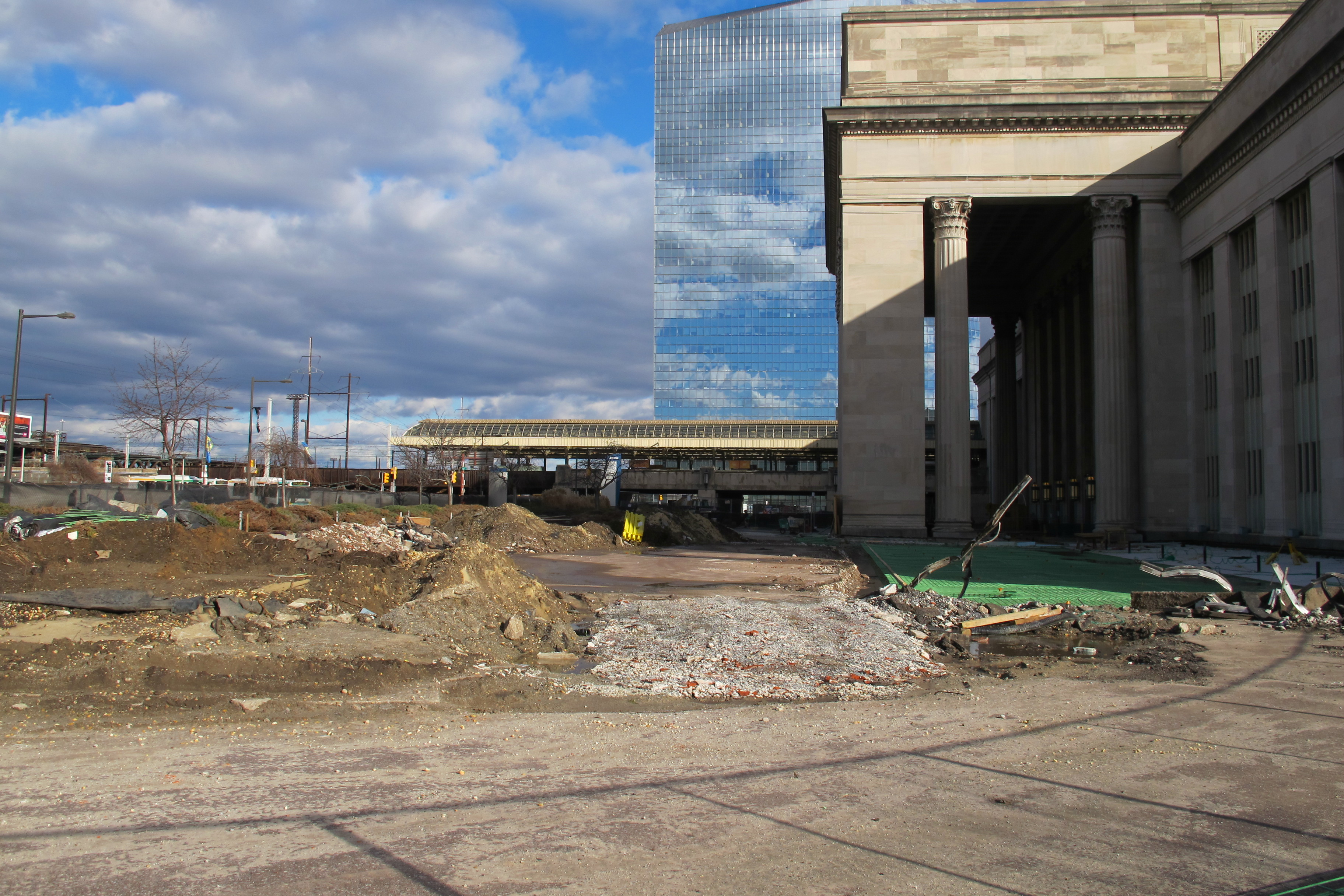 Construction on 30th Street Station's western side. (Or, what's hiding behind that cool looking fence.) January 2013.
