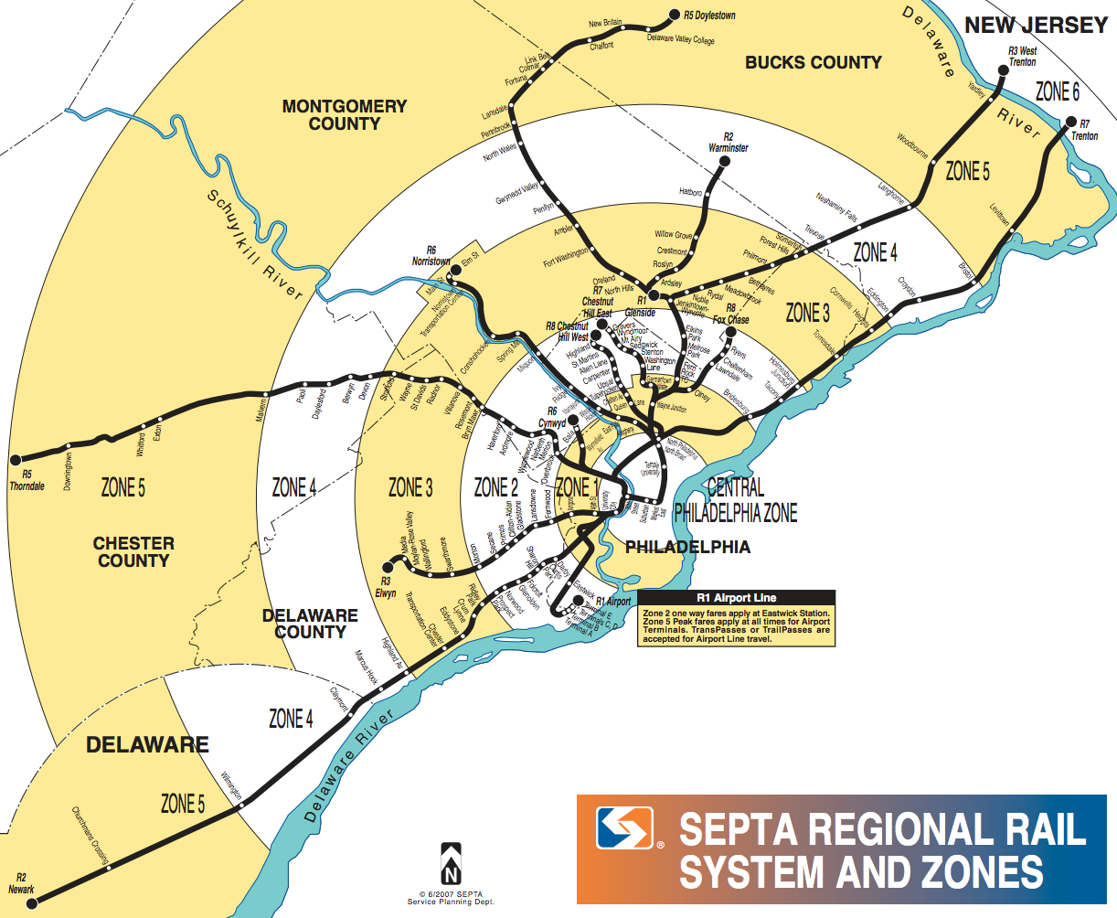 Current SEPTA regional rail system and zones