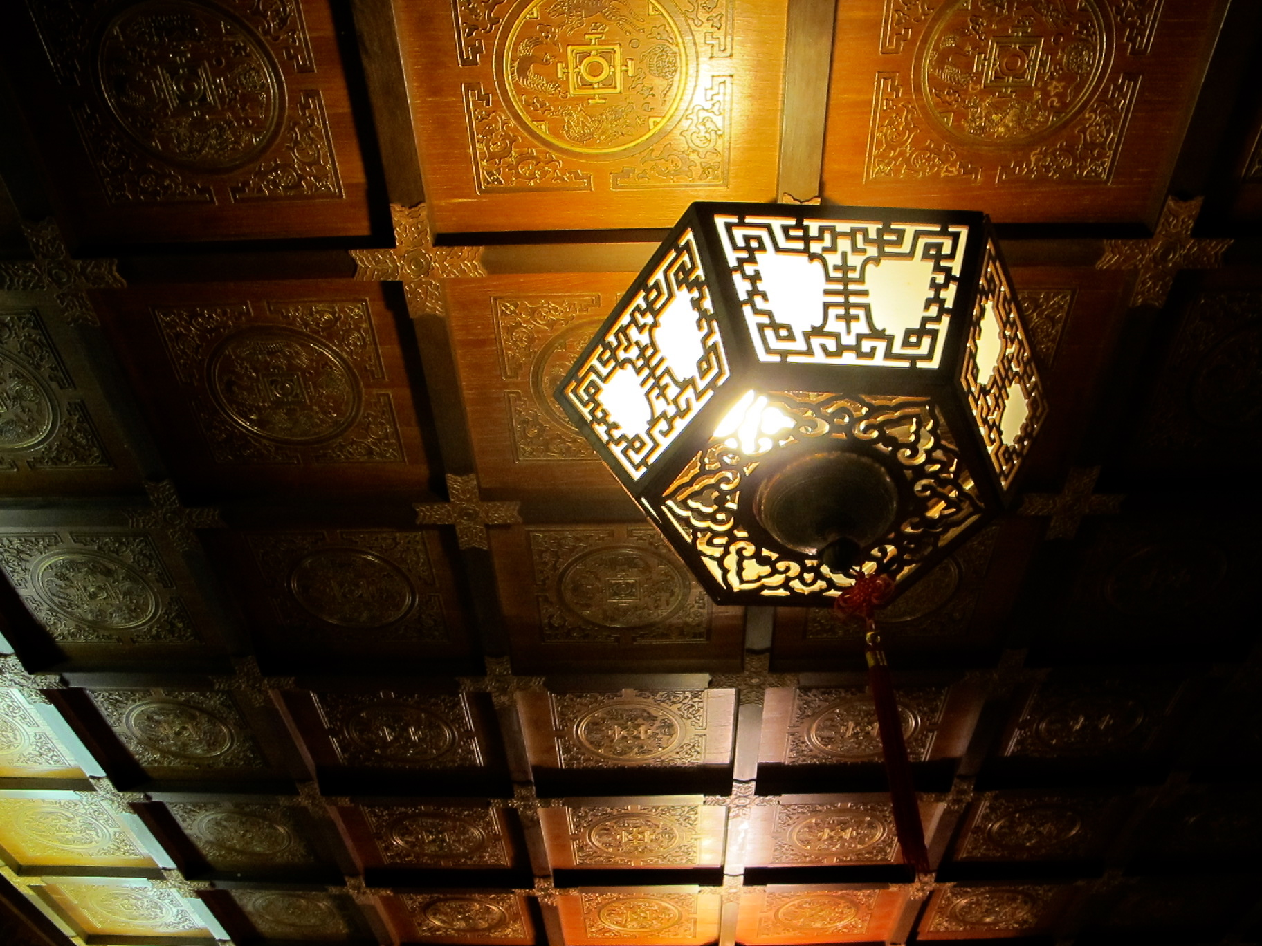 Detail of lantern lights and coffered ceiling.
