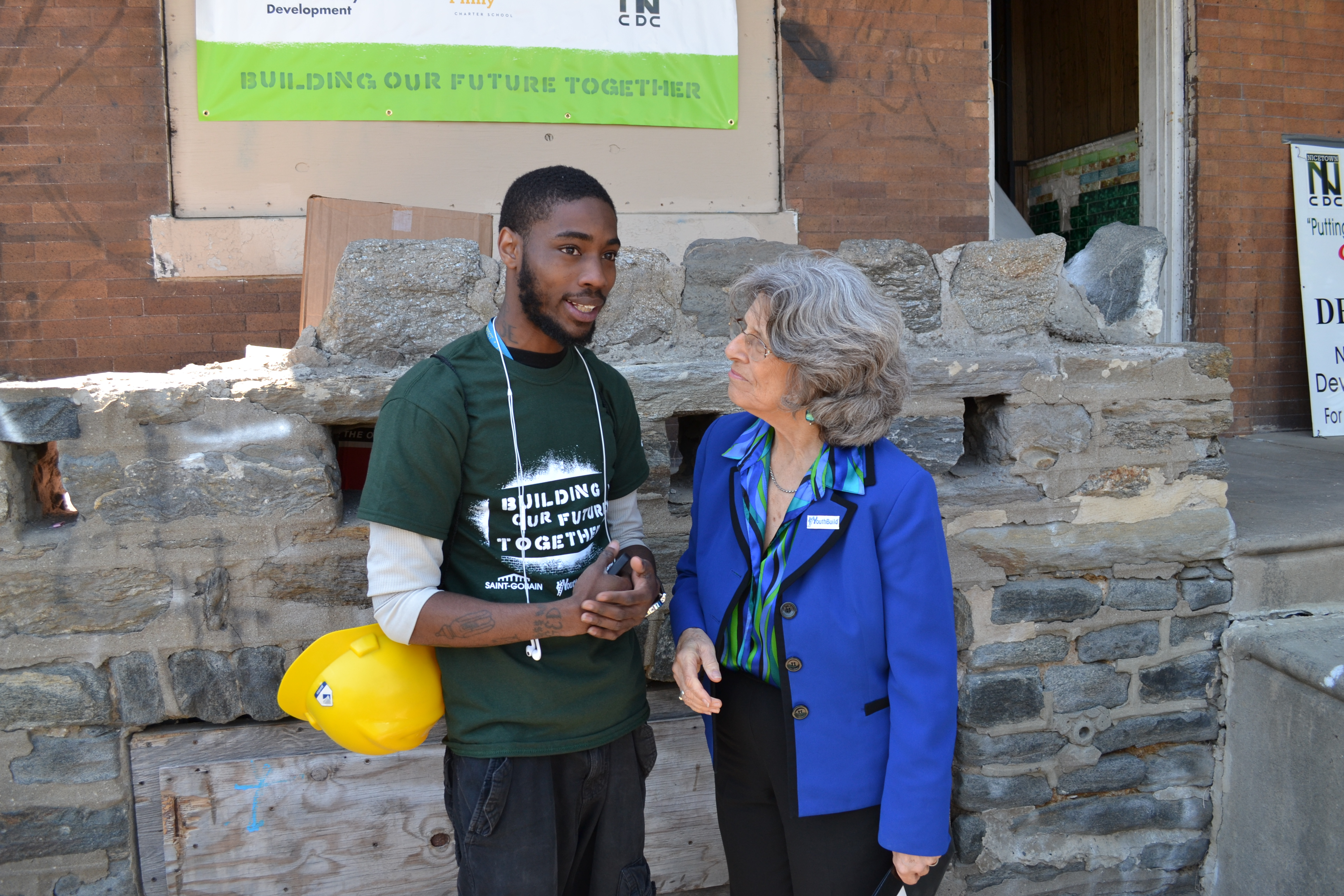 YouthBuild USA CEO and founder Dorothy Stoneman spoke with all of the YouthBuild Philadelphia students