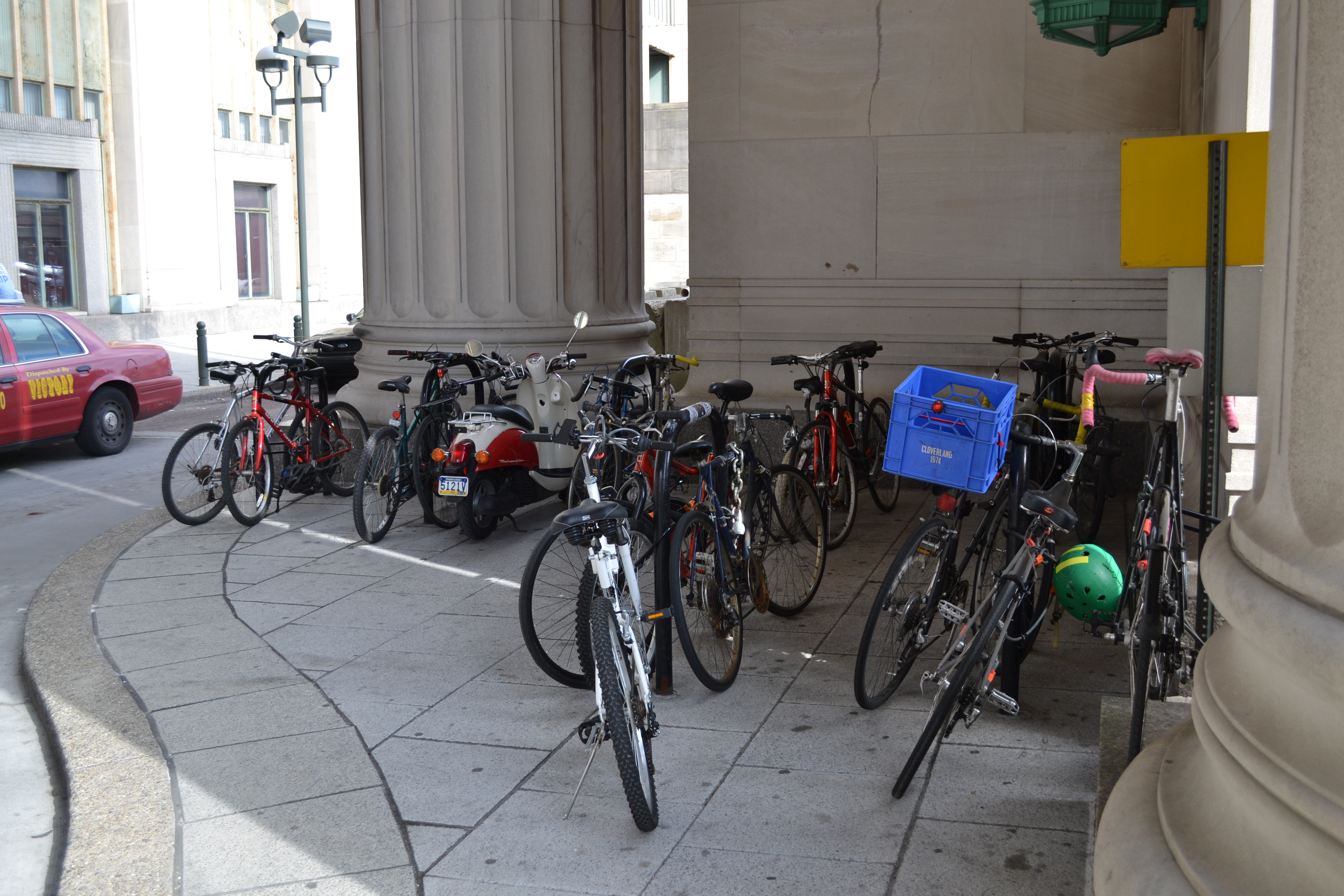 During the week, all bike racks around 30th Street Station fill quickly