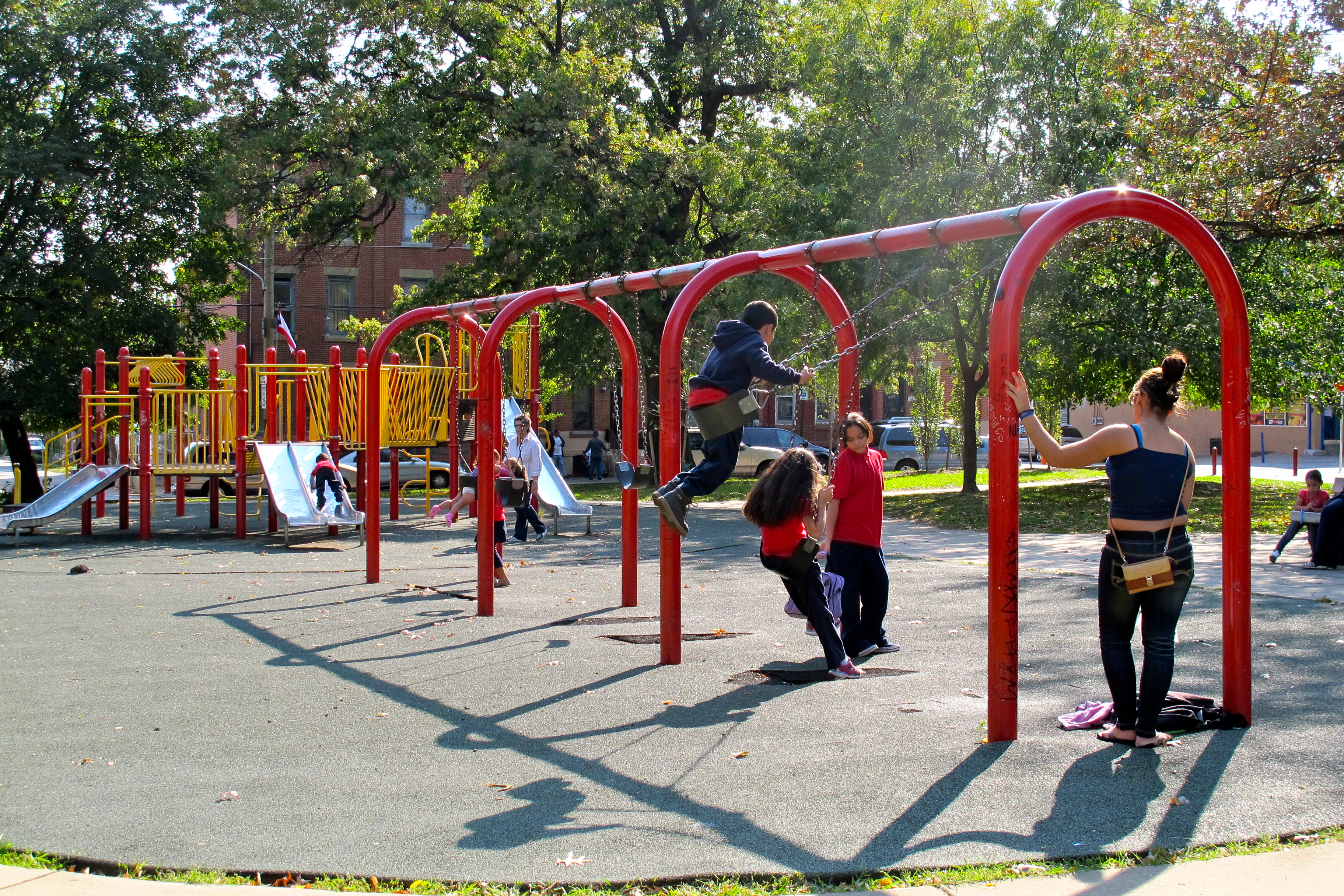 Fairhill Square's playground is well-used