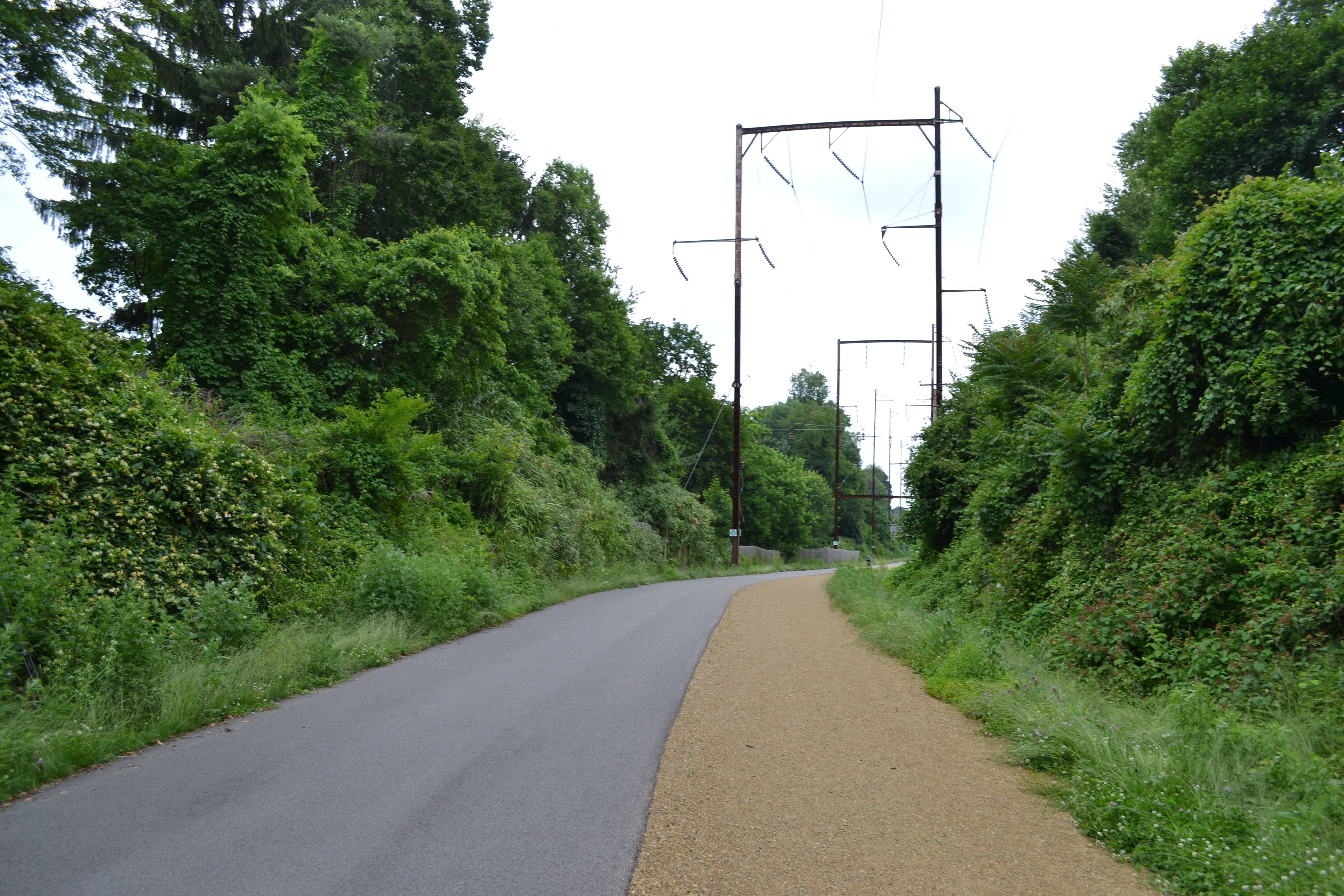 For much of the Cynwyd Heritage Trail, the paved and dirt portions run side by side