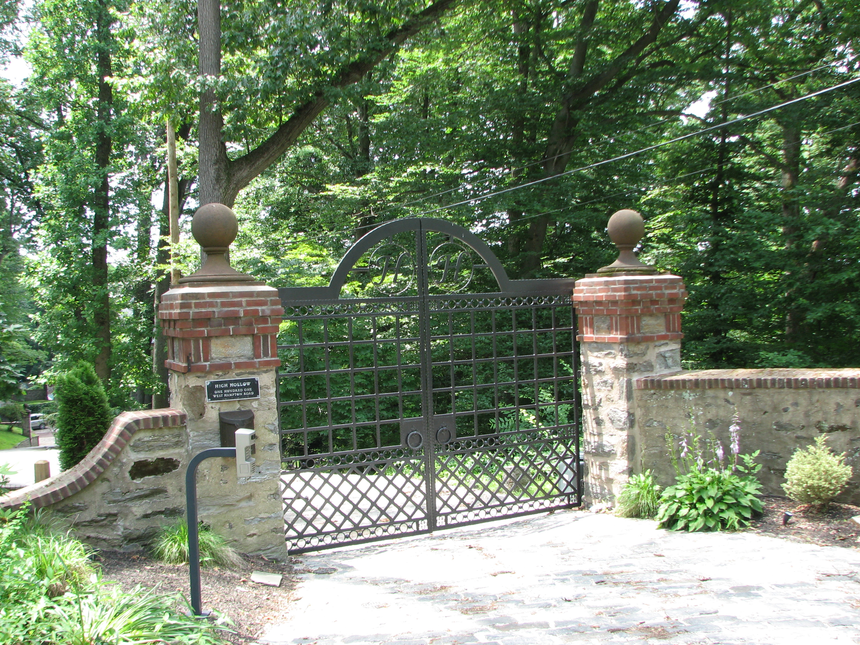 The entrance gate to George Howe's home, High Hollow.