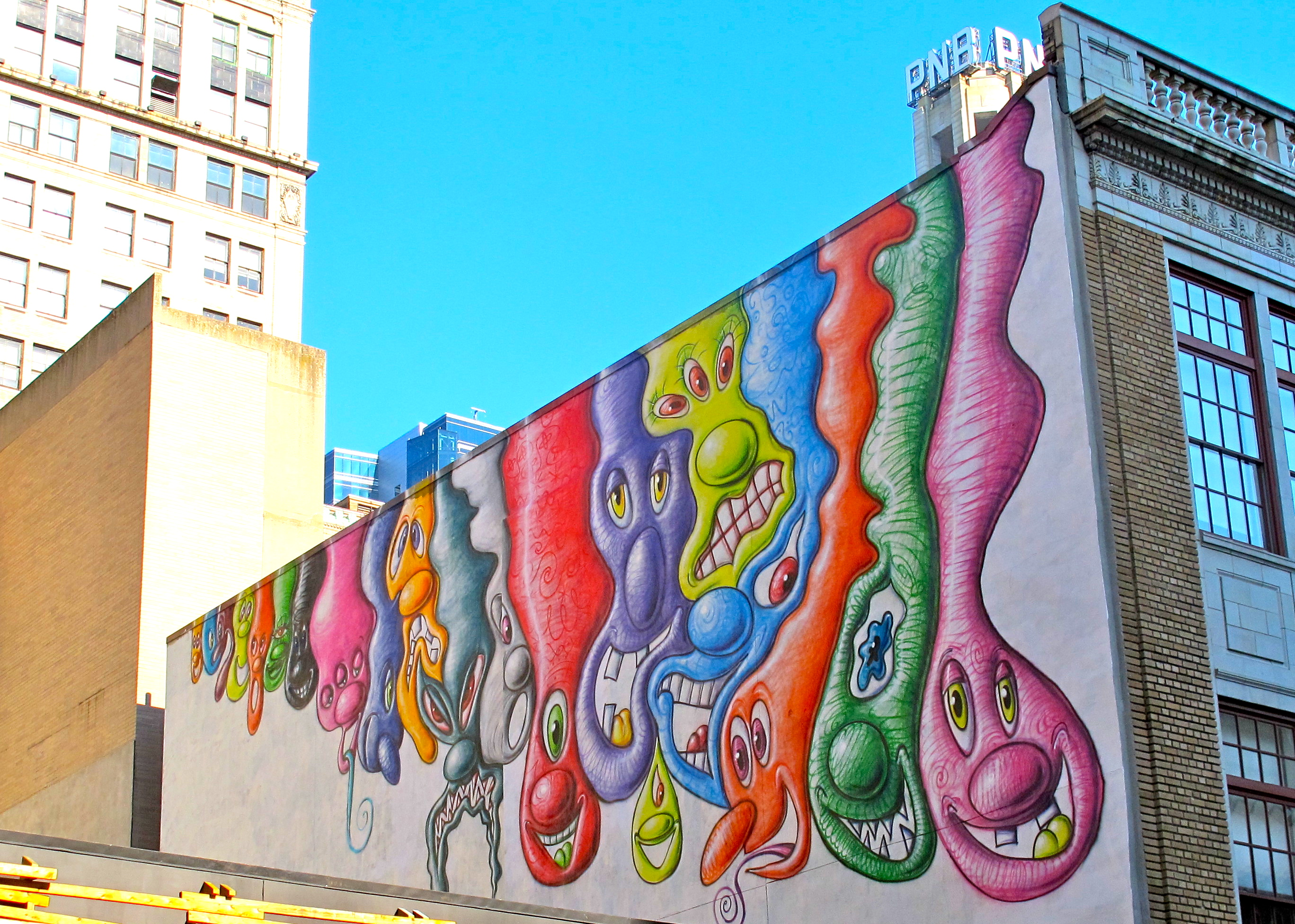 Kenny Scharf's mural on 13th Street on a Goldman Property.