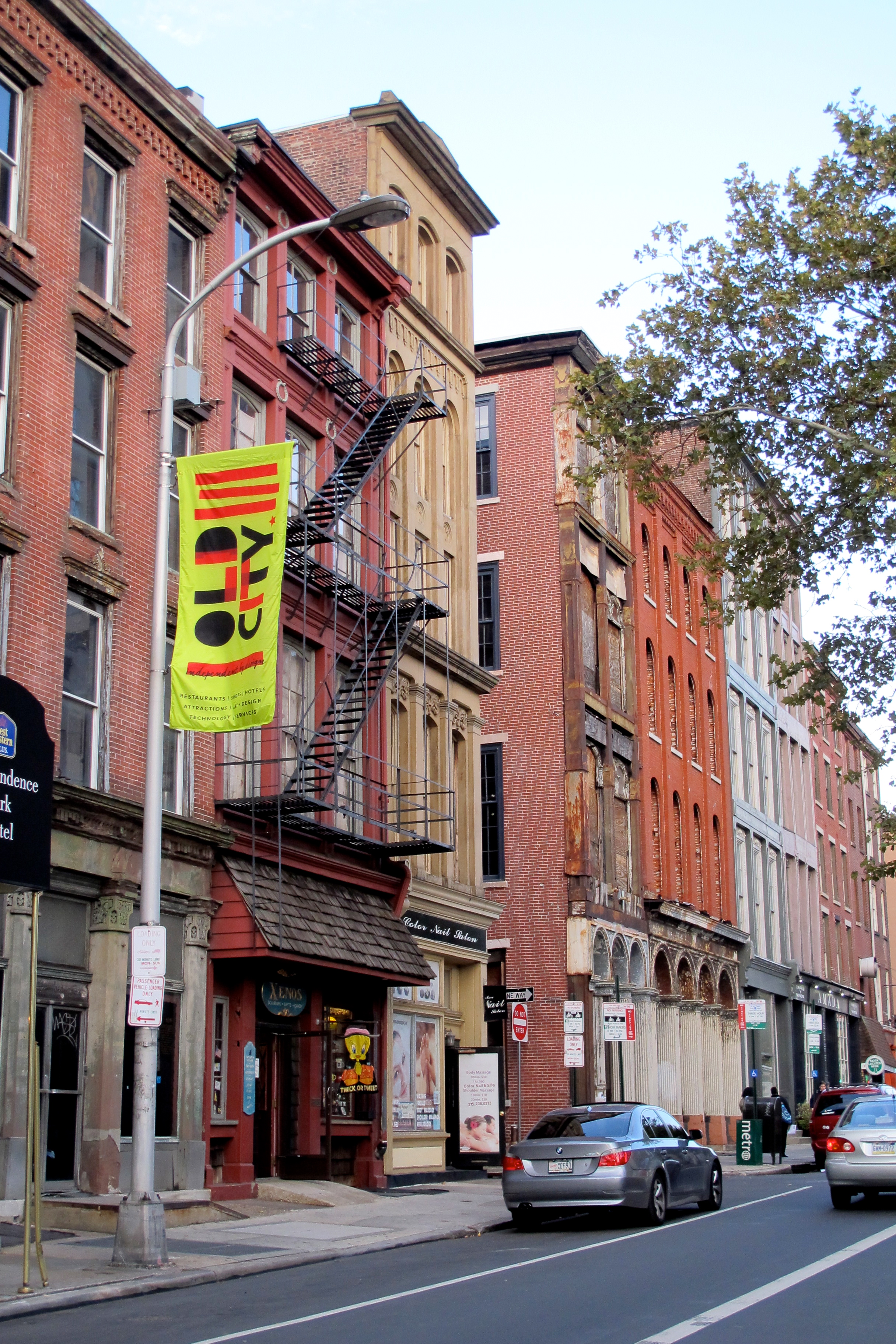 Old City District installed new street lamp banners this week as part of a revamped marketing campaign for the district.