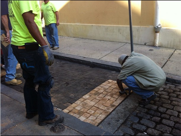 Our eagle-eyed reporter, Jared Brey, spotted Camac Street's oak pavers being patched. | via @planphilly on Instagram