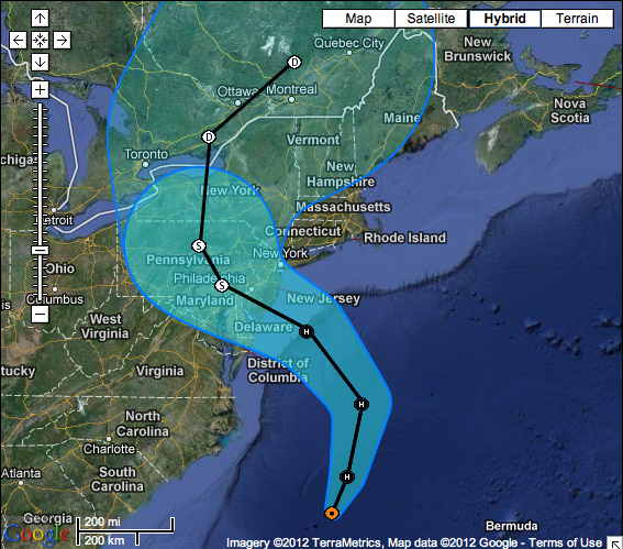 From NOAA: as of 2pm, Sunday, October 28: Coastal Watches/Warnings and 5-Day Track Forecast Cone Hurricane SANDY Advisory
