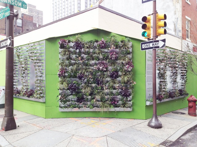 Shake Shack's temporary green wall during construction.