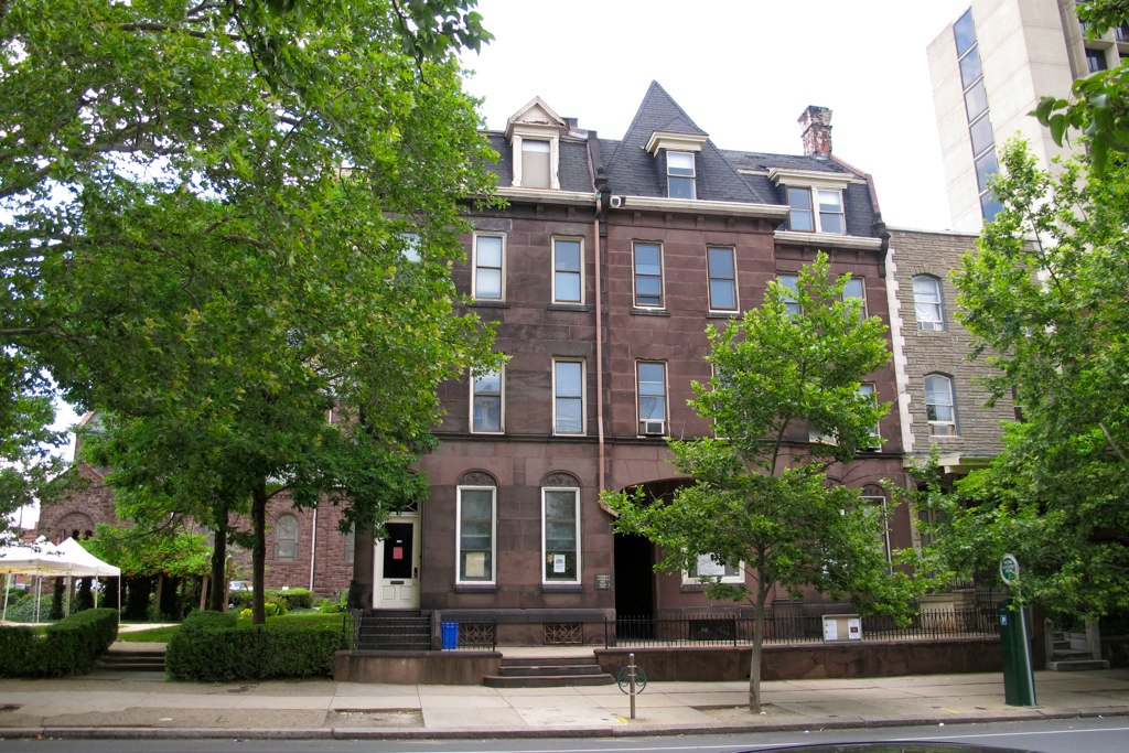 Episcopal Cathedral's brownstones on Chestnut Street