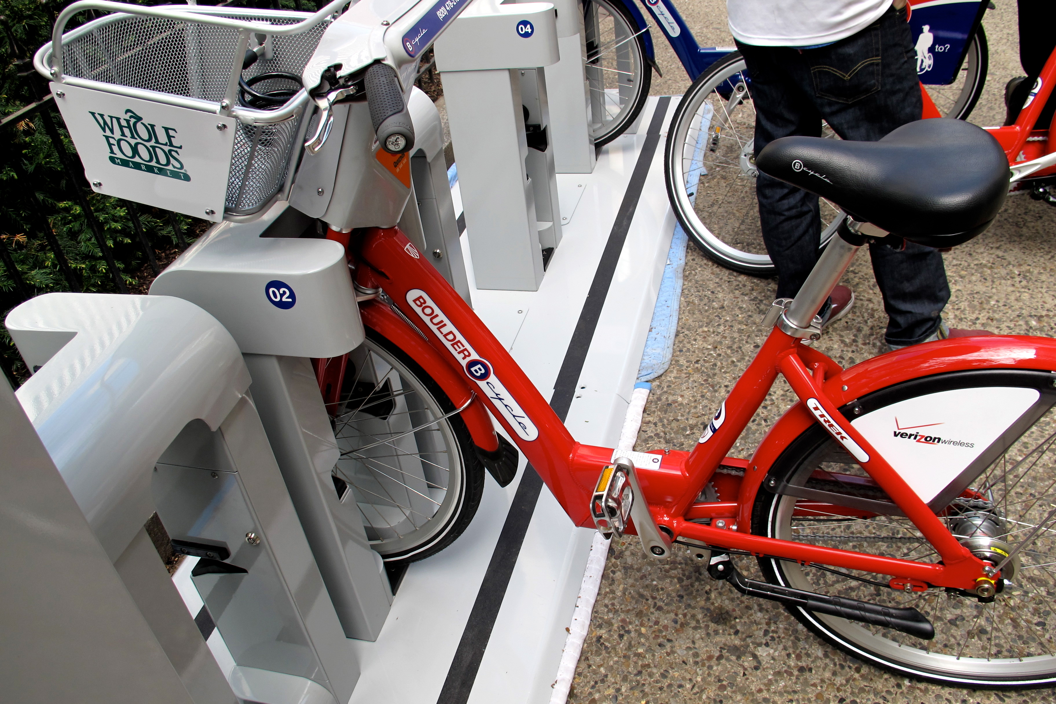 A B-cycle model from Boulder, showing two corporate sponsorships.