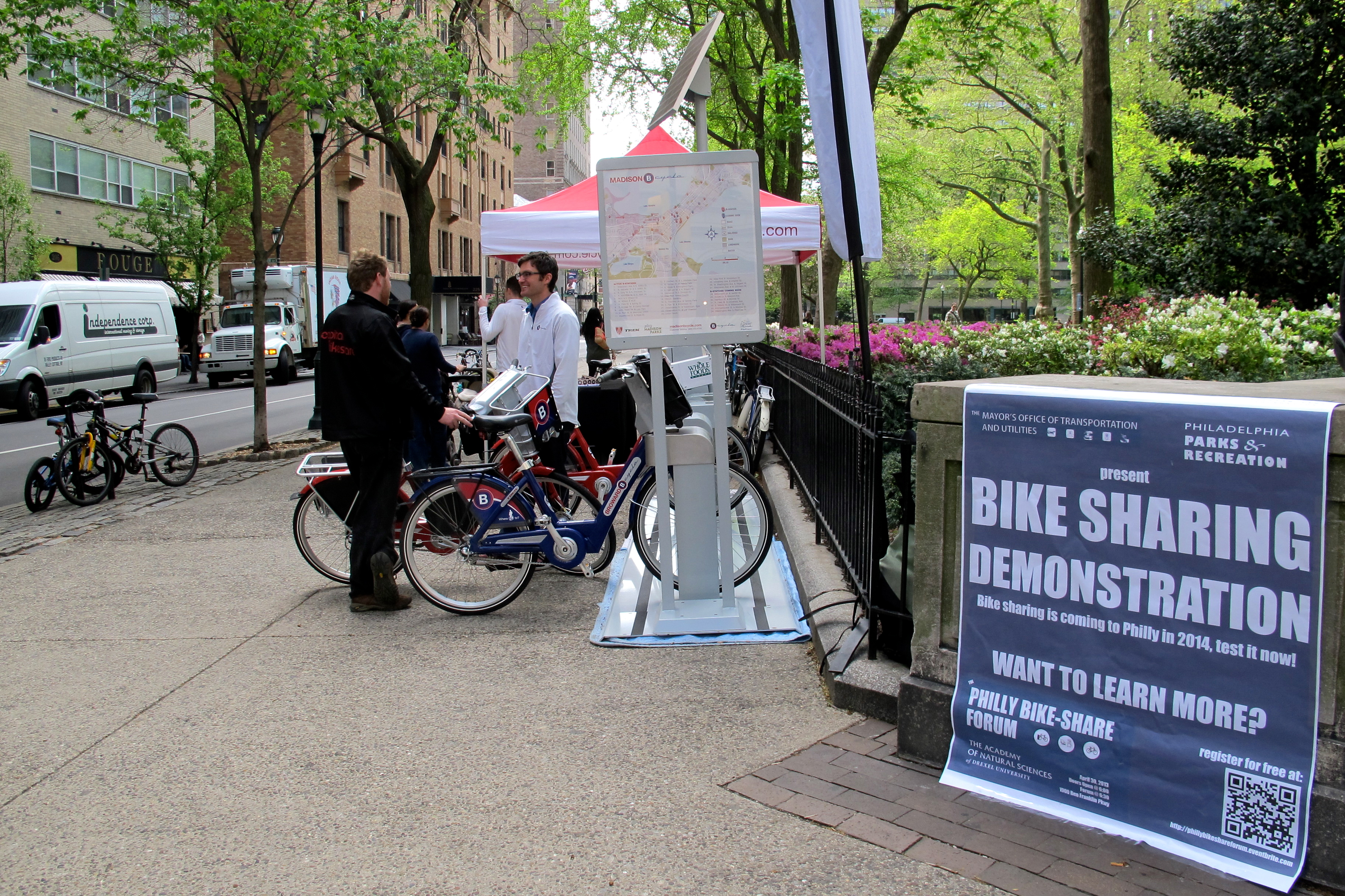 Bike sharing demo today at 18th and Walnut.