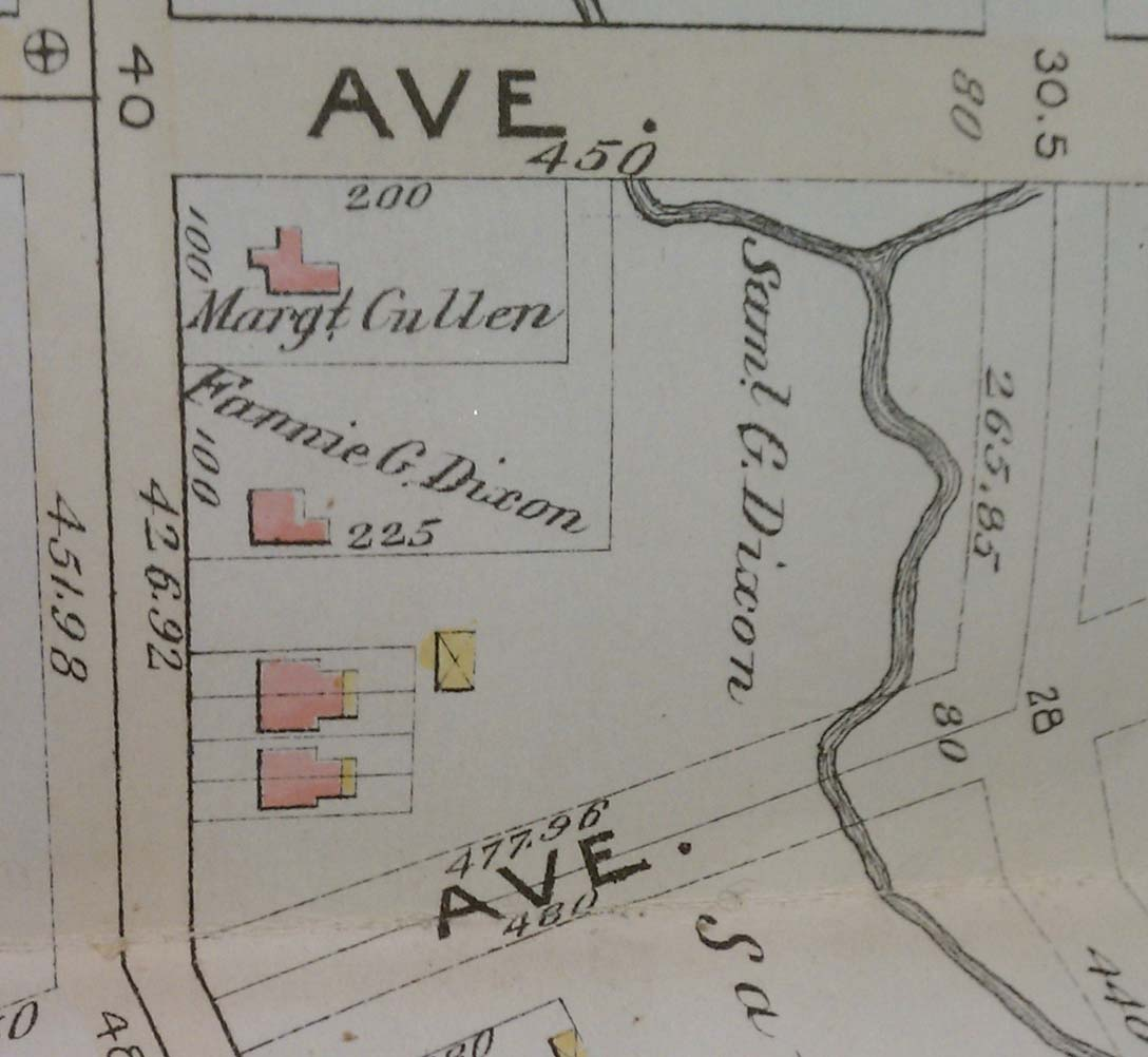 This 1892 Bromley map shows an early subdivision of the Gibson Estate.