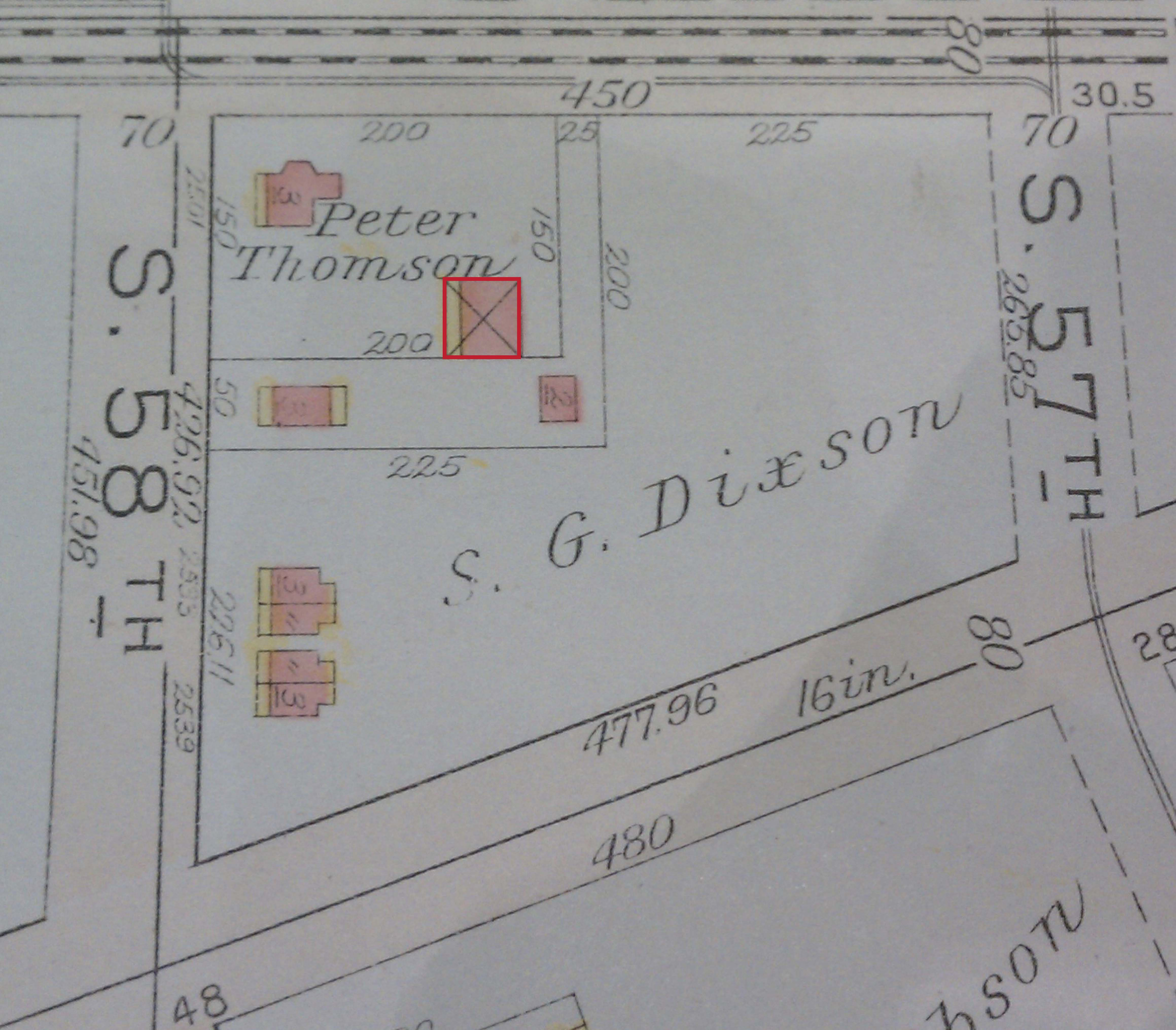 1918 Bromley map - The new auto house is highlighted in red.