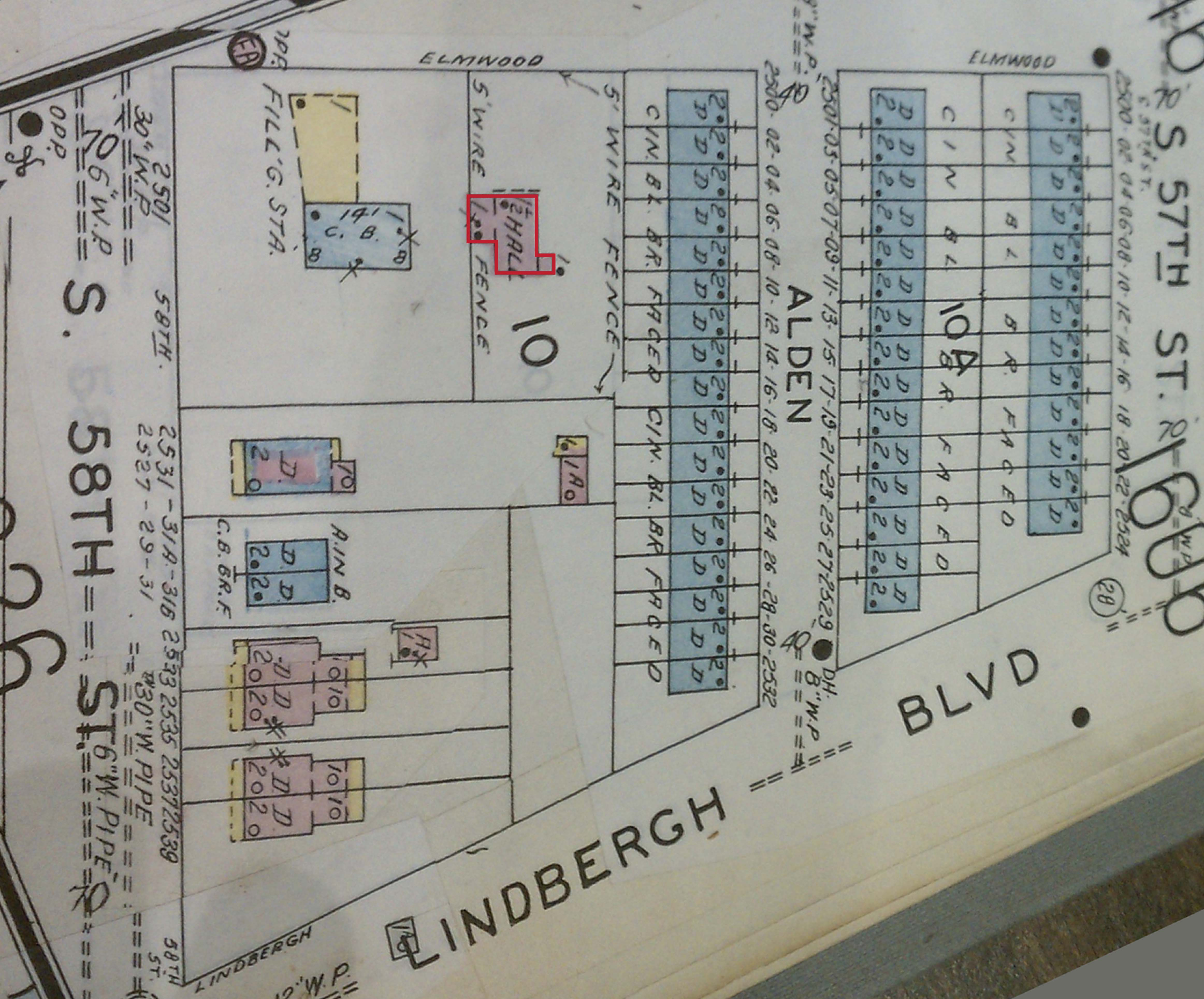 1958 Sanborn map shows new residential subdivision. Original estate house has been demolished.