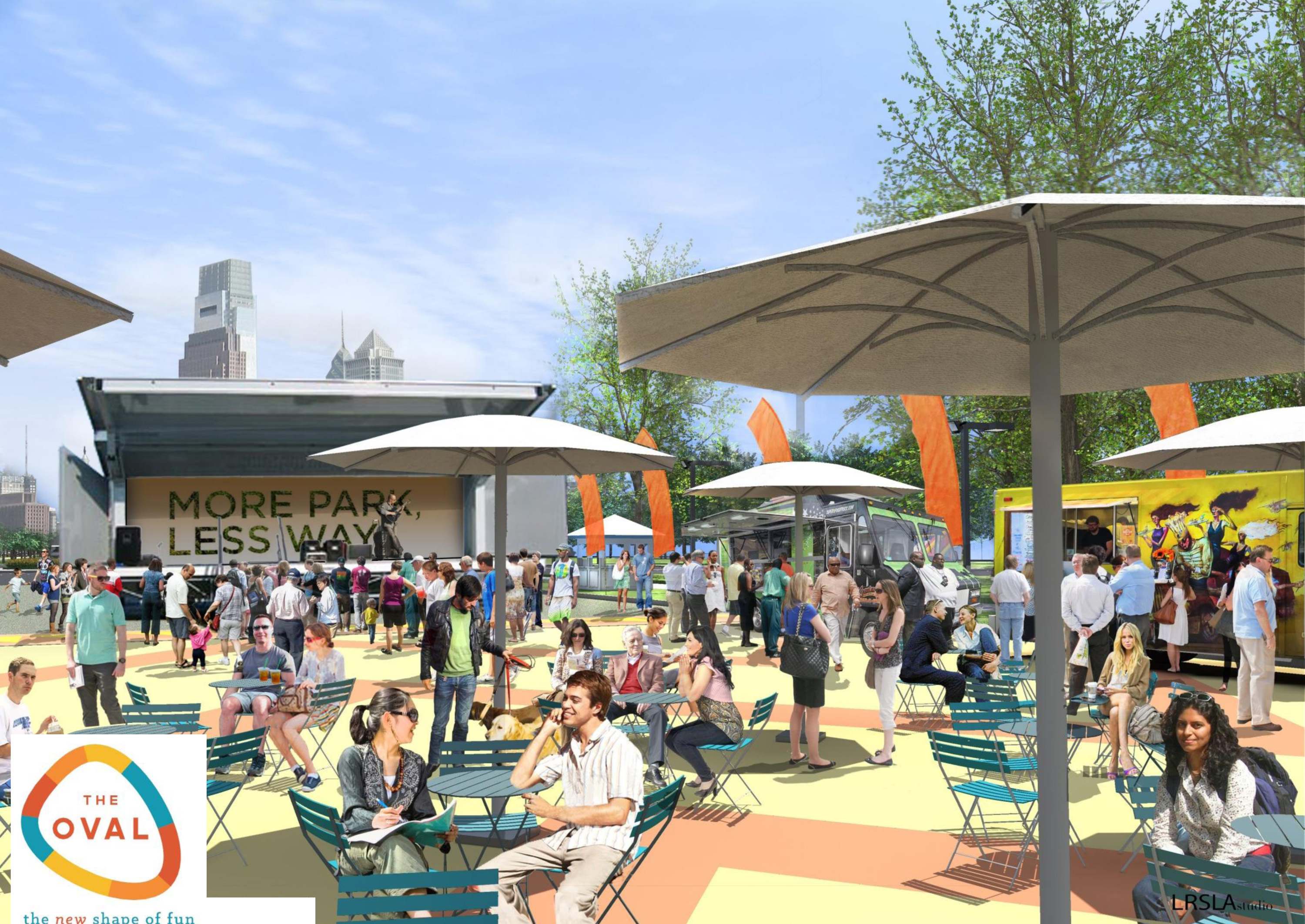 Movable chairs, umbrellas, food trucks and the stage area will grace The Oval's eastern end. | LRSLA studio