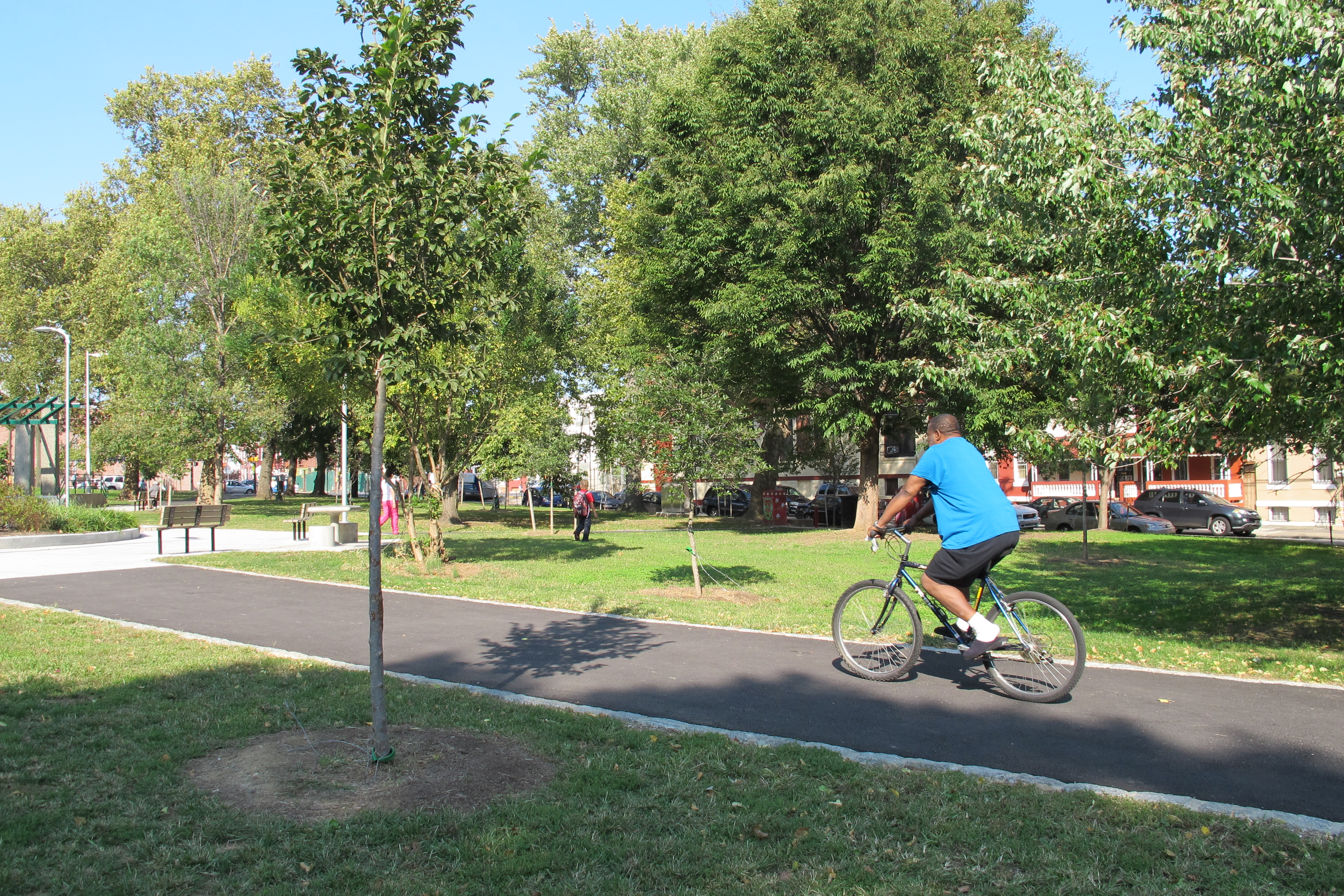 New trees and walkways are among the recent improvements to Fairhill Square