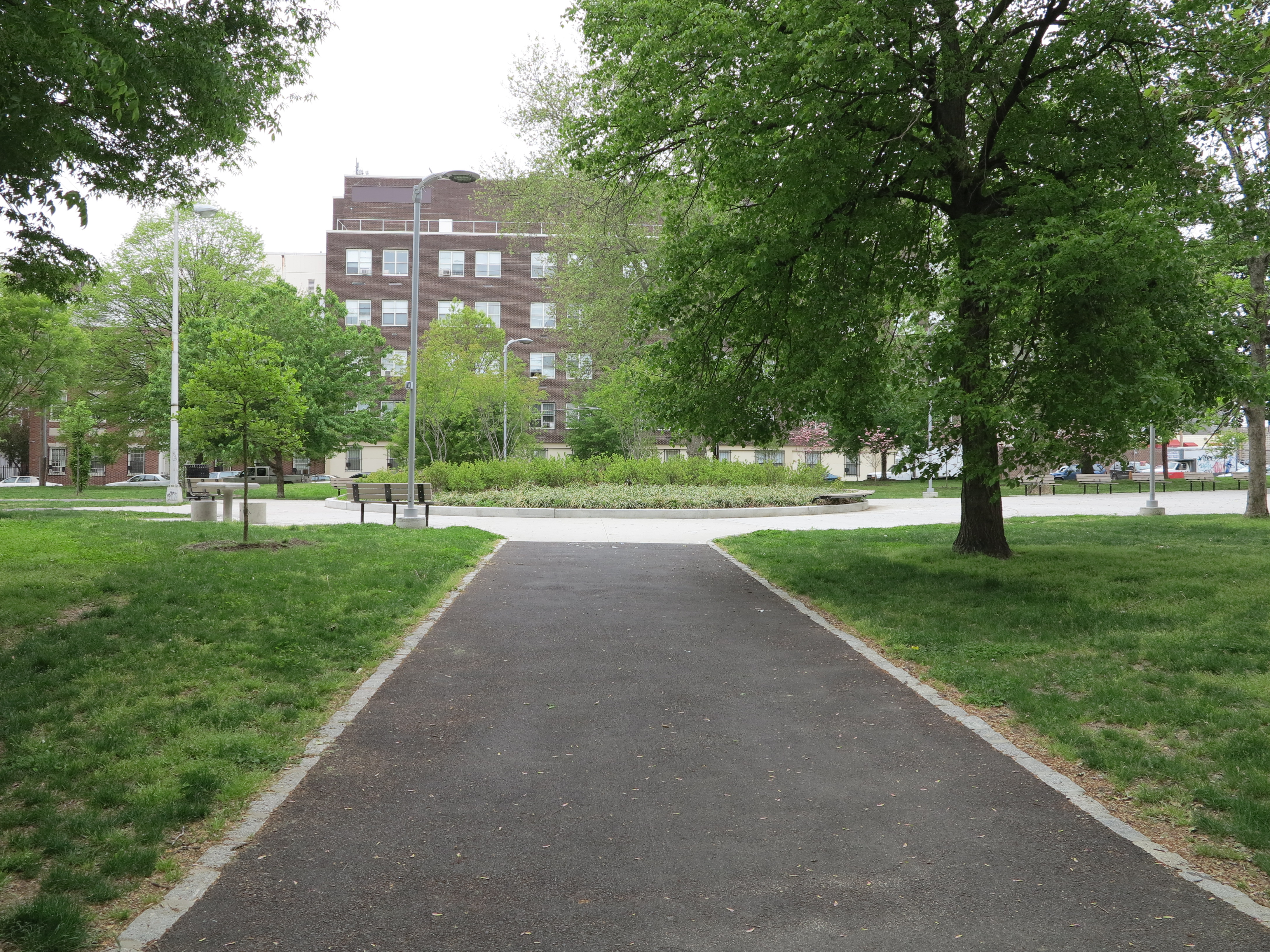 New walkways and central plantings in Fairhill Square
