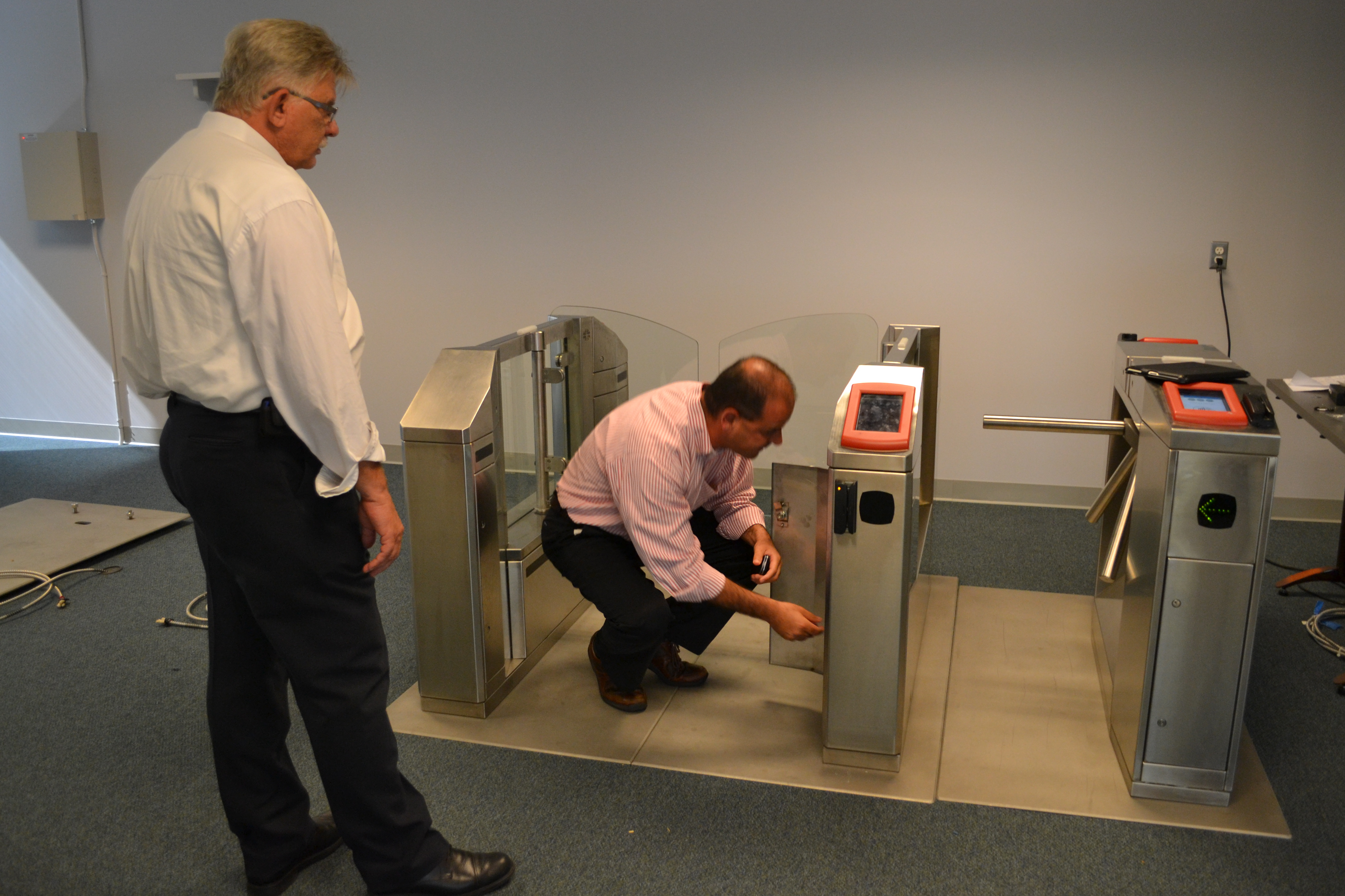 NPT Senior Project Manager Thomas Carl and Revenue Officer Sam Sulaiman tested the fare gates