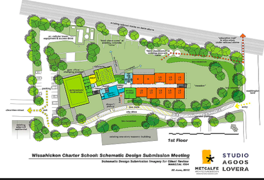 Outline of Wissahickon Charter School's new campus. (Courtesy of Mt. Airy USA)