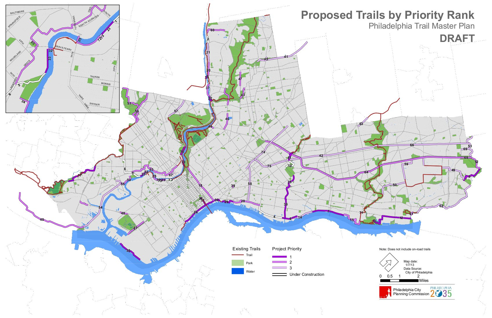 Philadelphia Trail Master Plan Draft Priority Map