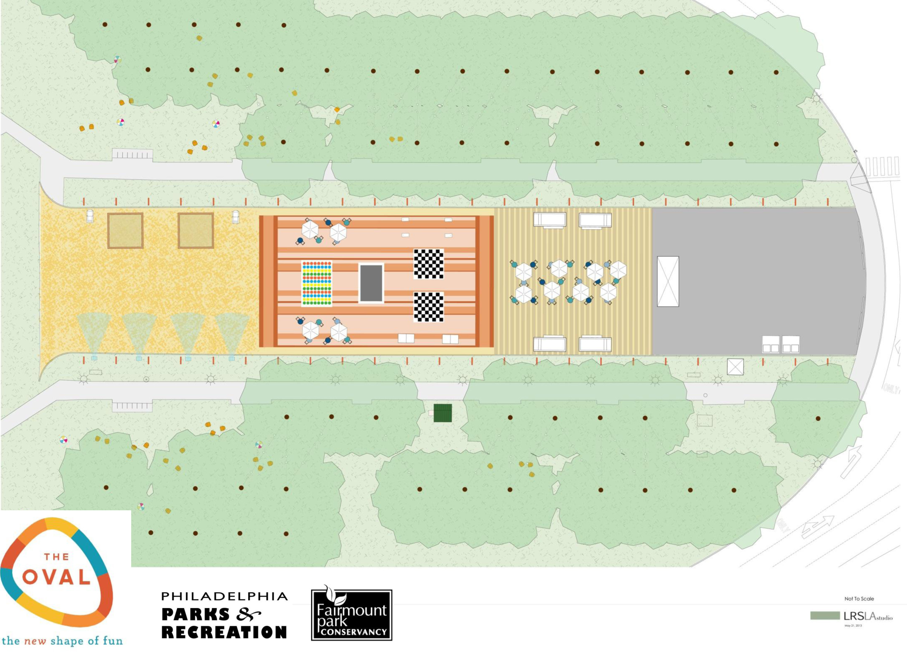 Plan of The Oval: from left to right: The beach, the blanket, and the boardwalk | LRSLA studio