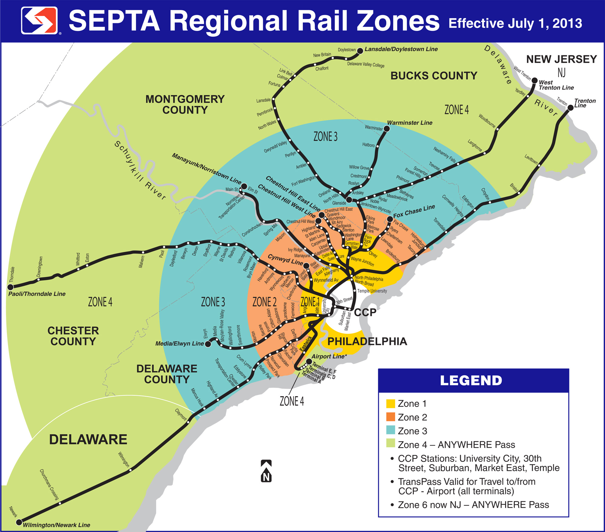 Proposed SEPTA Regional Rail systems and zones