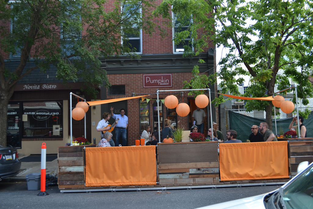 Pumpkin parklet on South Street West.