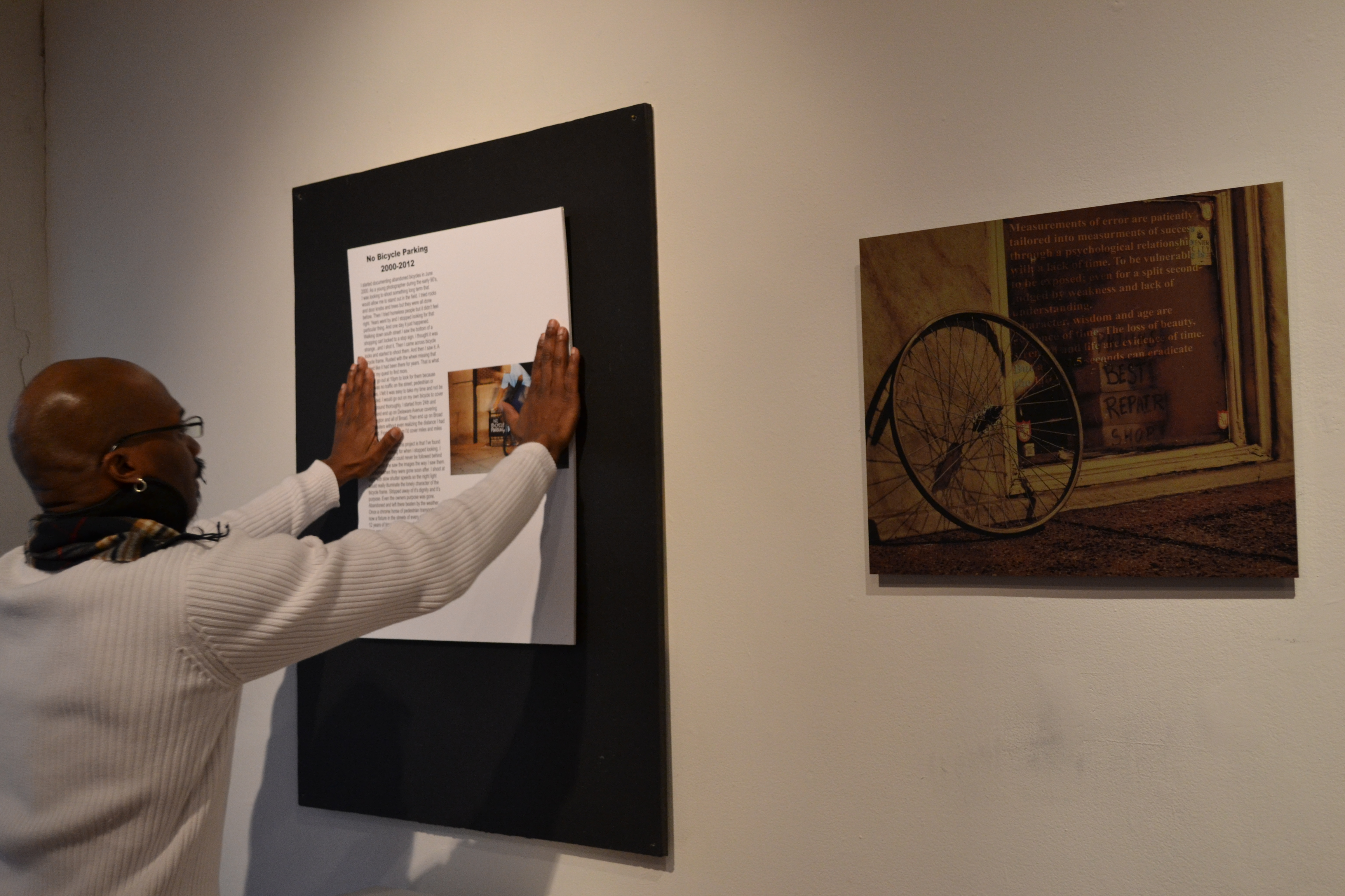Raphael Xavier preps for the No Bicycle Parking exhibit