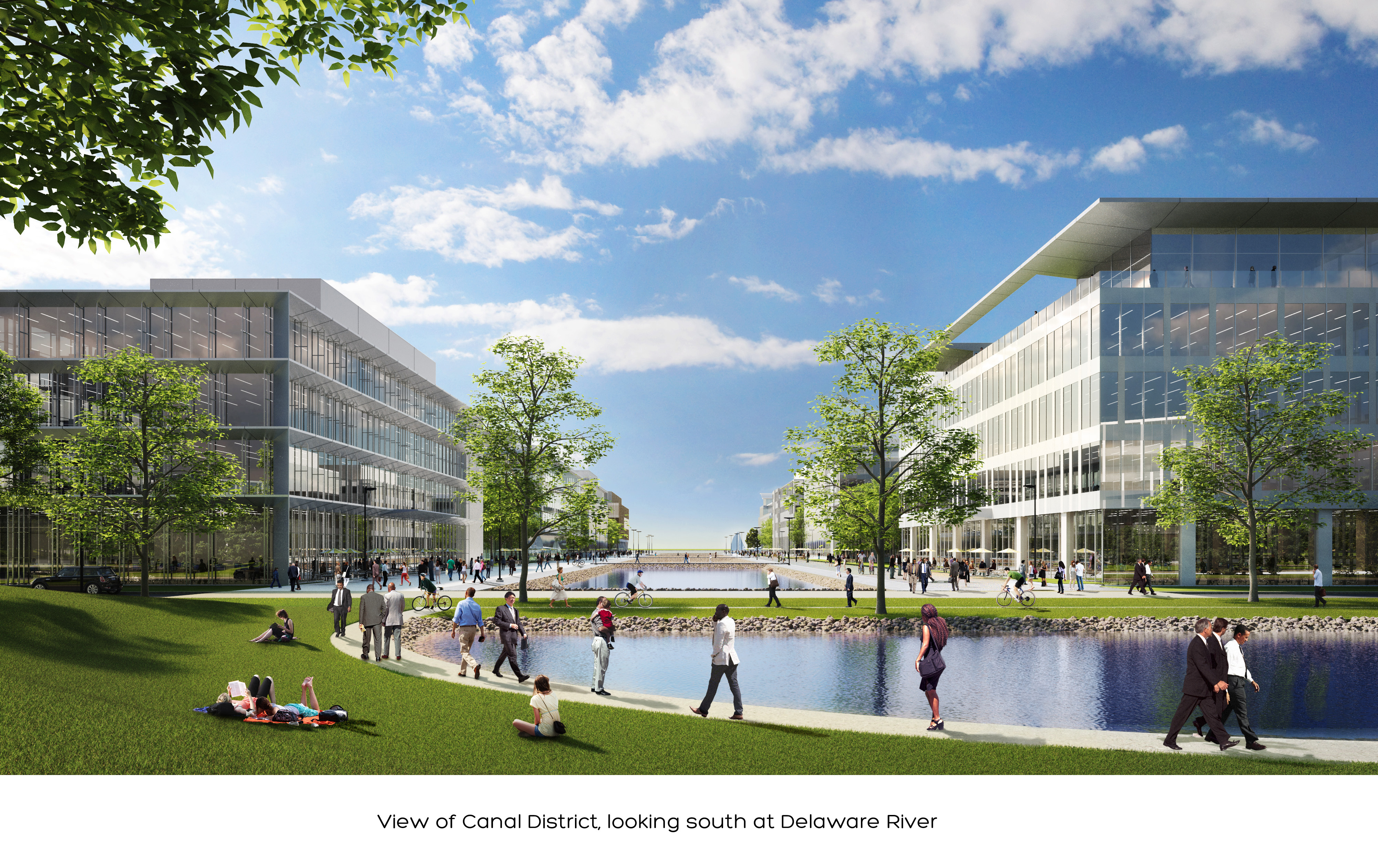 Rendering of canal district at Navy Yard