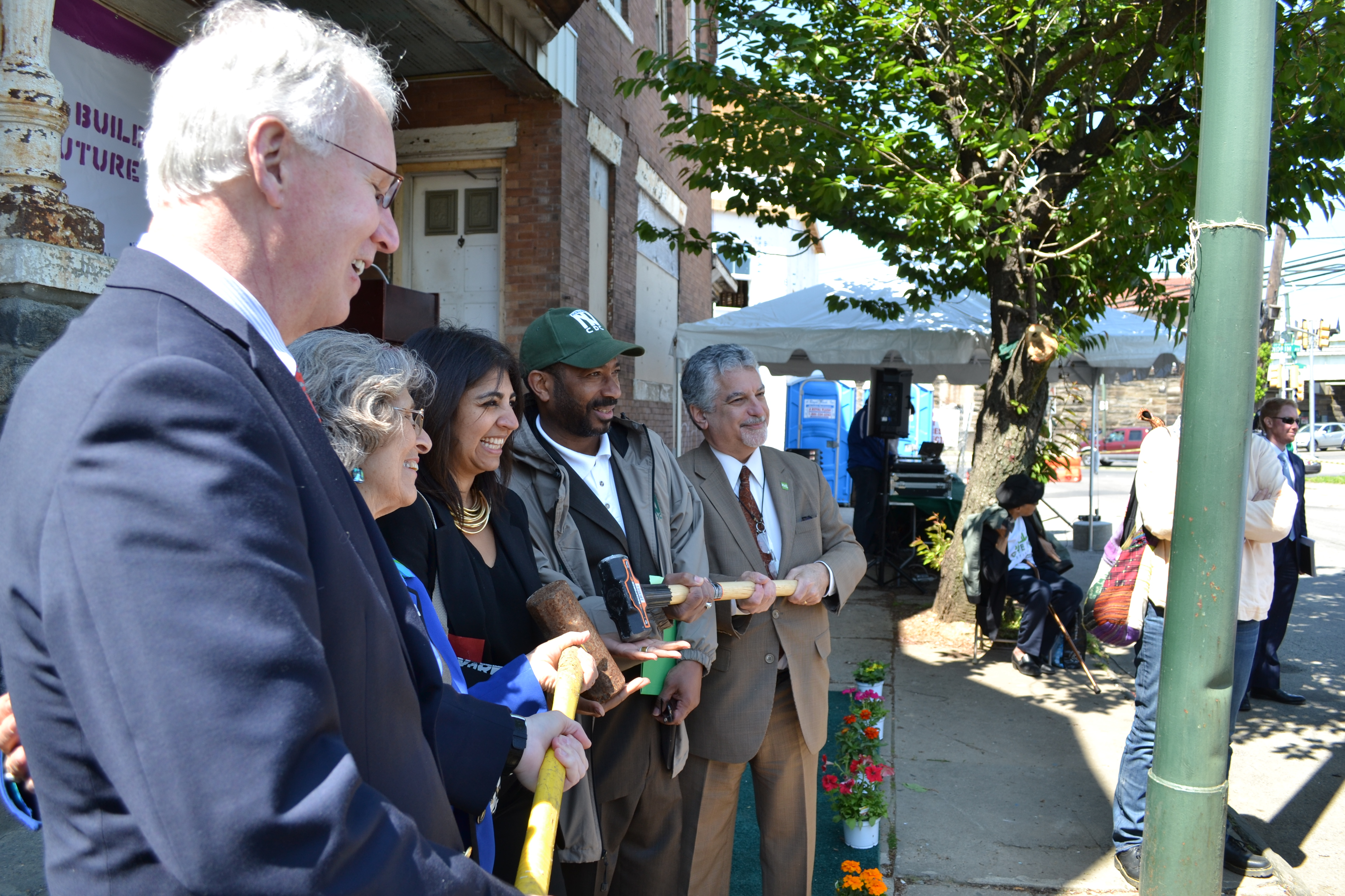 Saint-Gobain, YouthBuild, Nicetown CDC and Philadelphia City leadership spoke at the groundbreaking