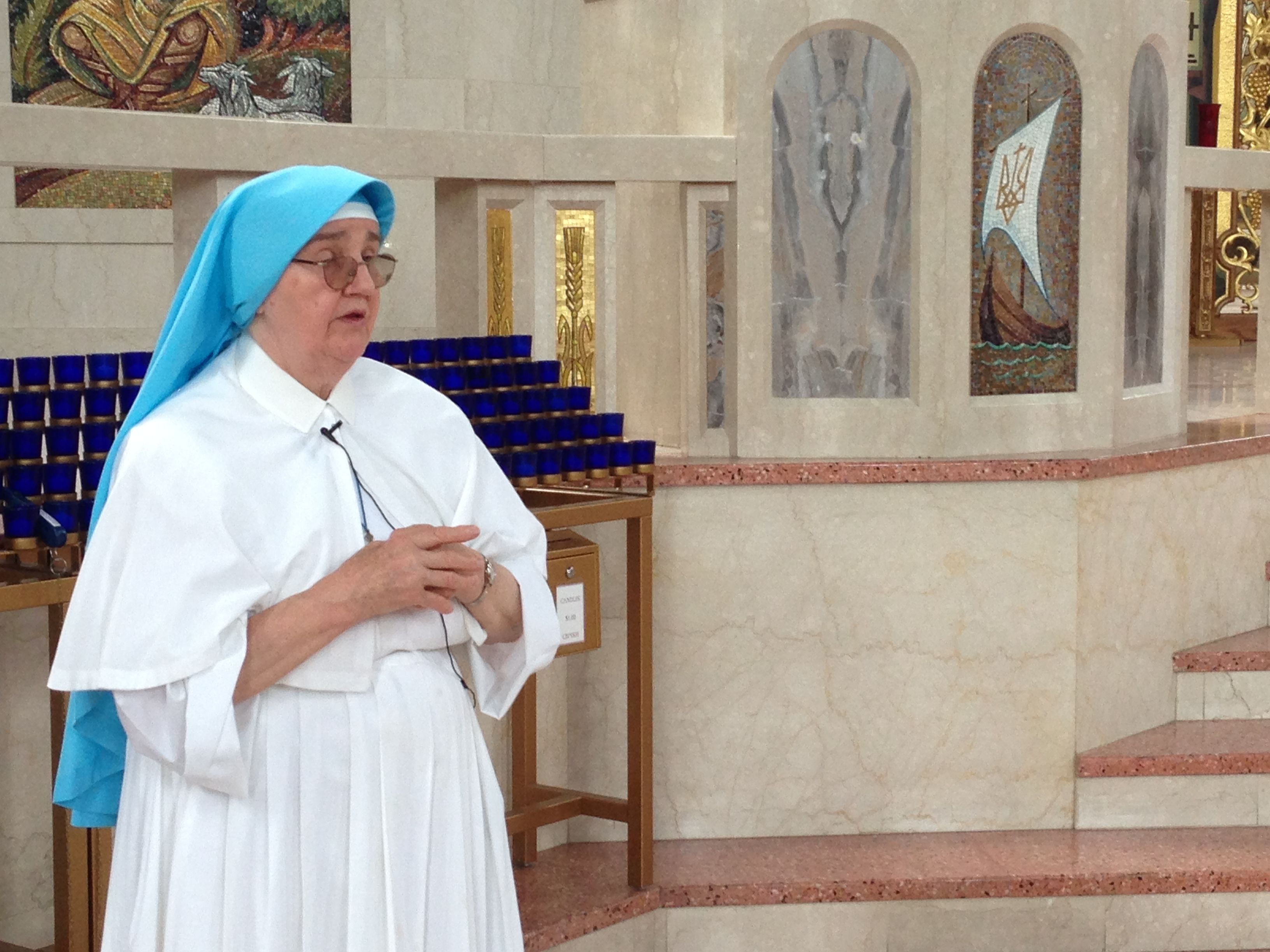 Sister Evhenia Prusnay in the Ukrainian Catholic Cathedral of the Immaculate Conception during a tour.
