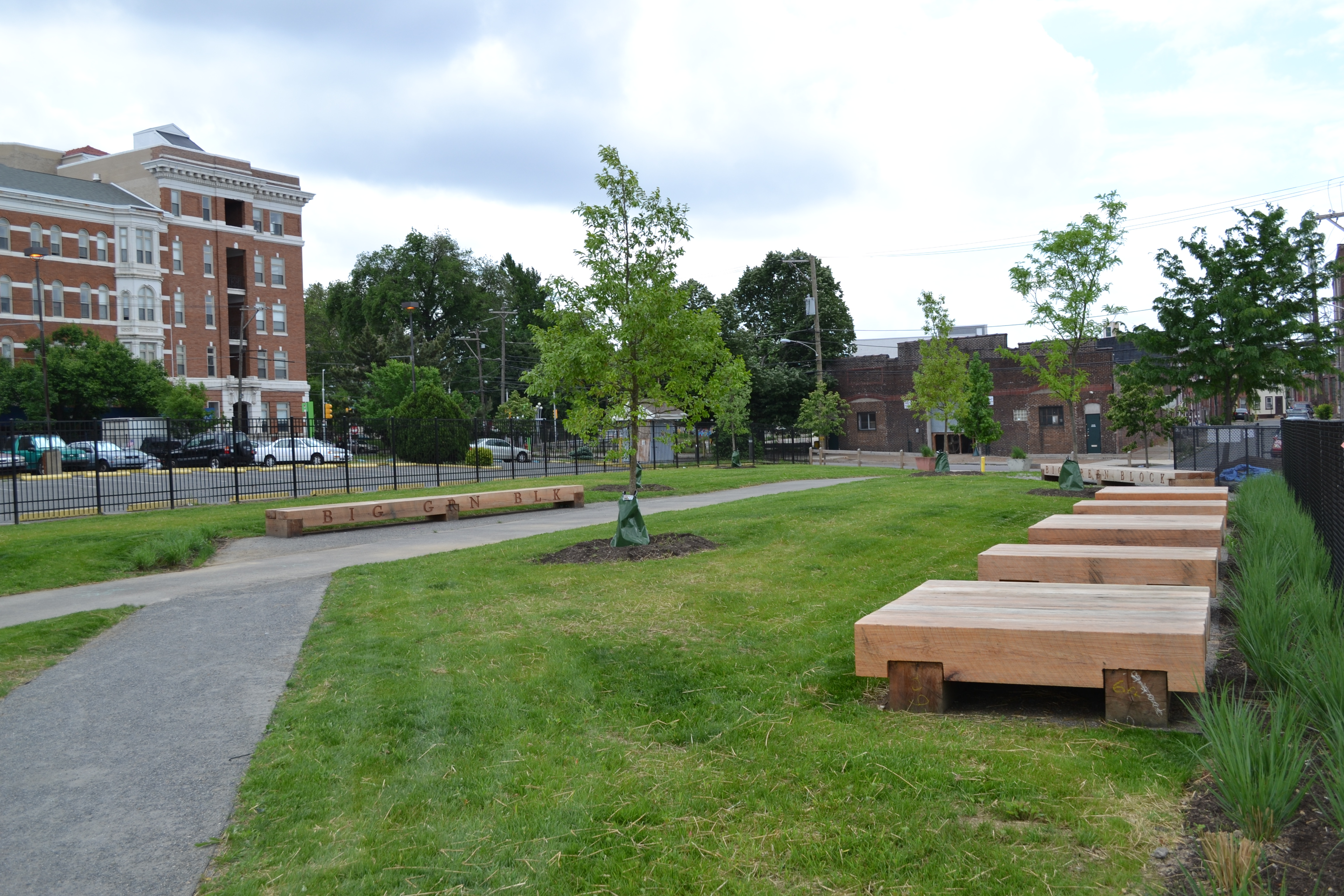 The Big Green Block initiative has created an art-filled greenspace to connect the Shissler Rec Center through neighborhood parks to the Delaware River