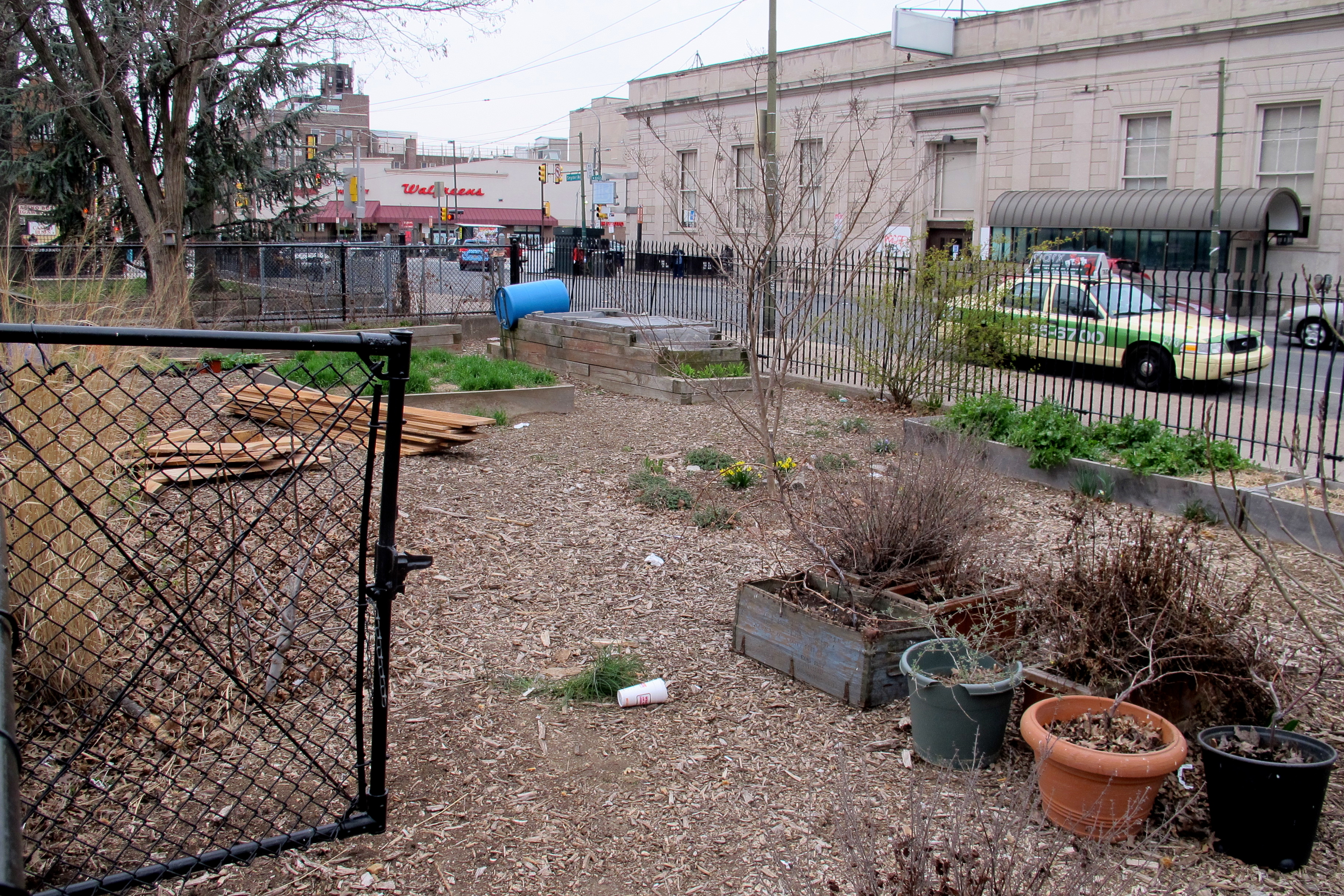 The garden along Snyder Avenue will get new raised beds this year where more produce can be grown.