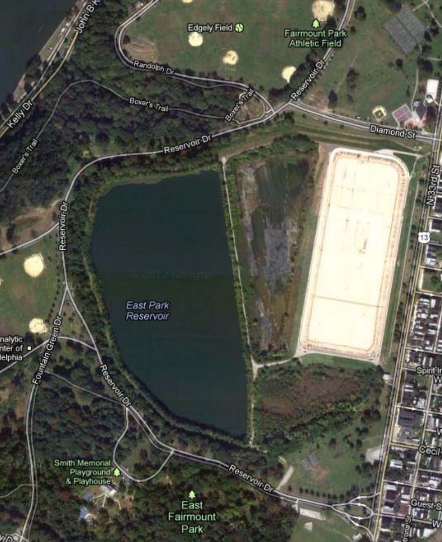 The proposed location for the East Park Leadership and Conservation Center—the west basin of the East Park Reservoir and surrounding grounds next to the Strawberry Mansion neighborhood