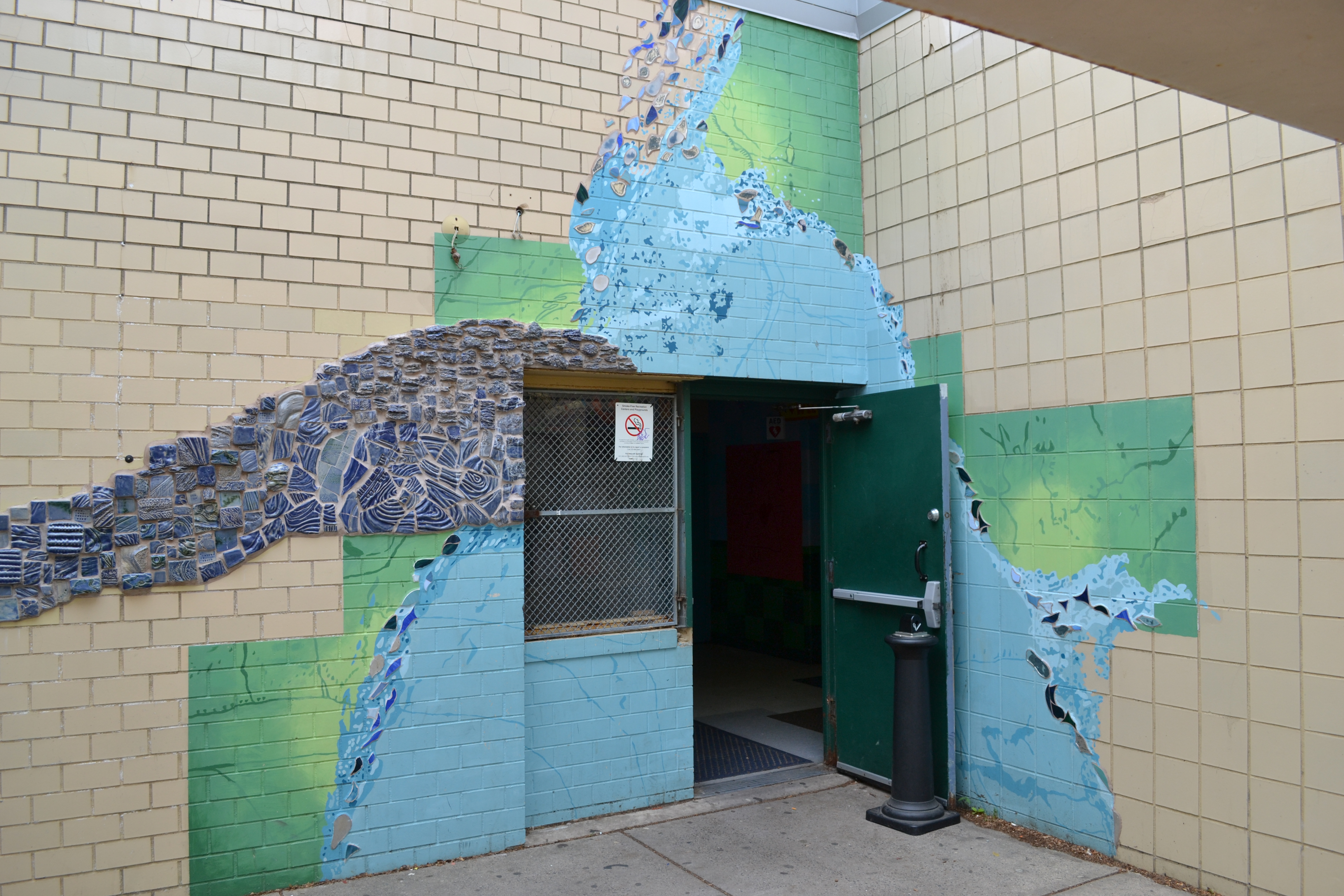 The Mural Arts initiative aims to connect the rec center to neighboring parks and the Delaware River