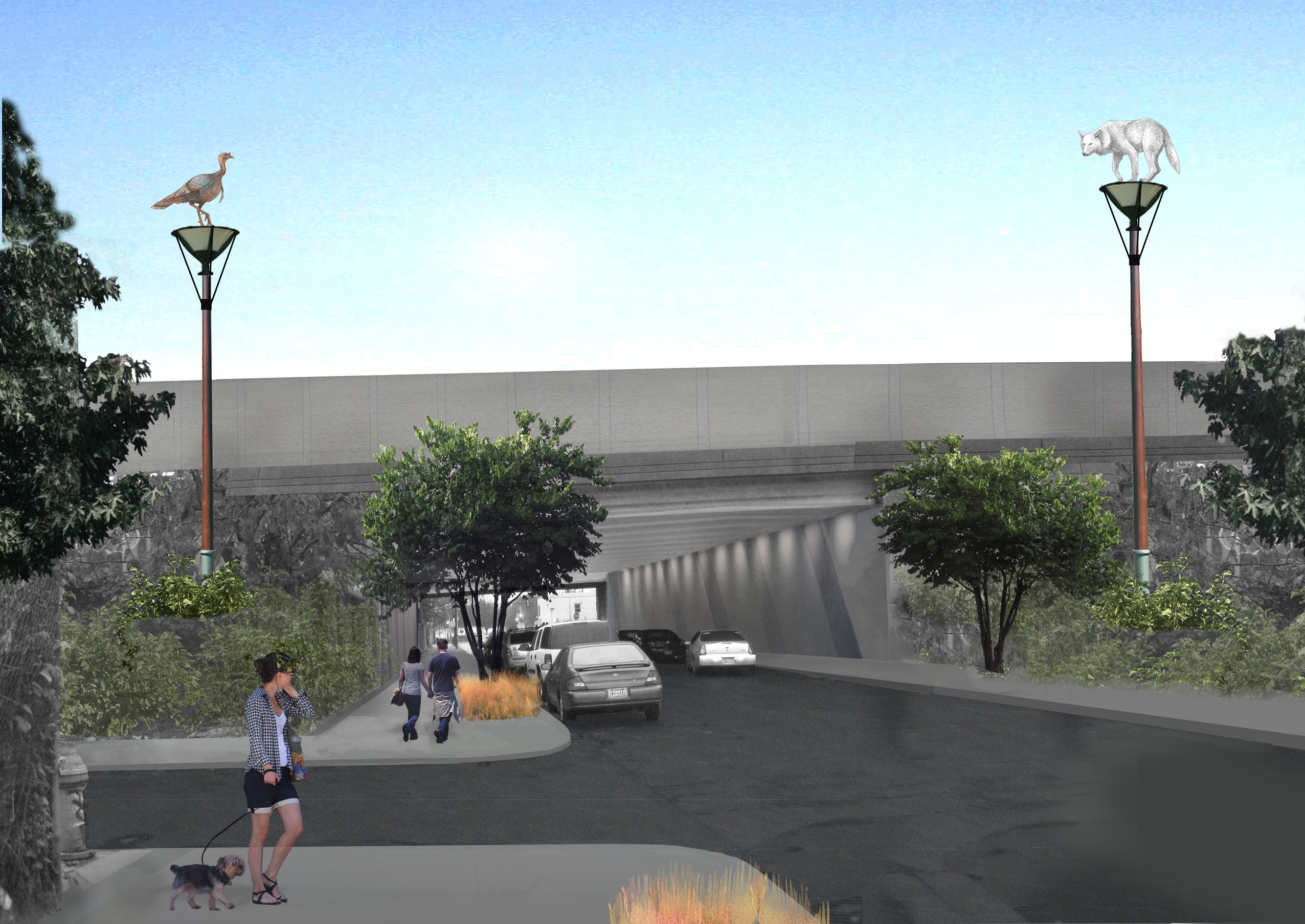 Rendering of the fiberglass turkey and wolf proposed to serve as beacons before the I-95 overpass on Columbia Avenue.  Image courtesy Donald Lipski.