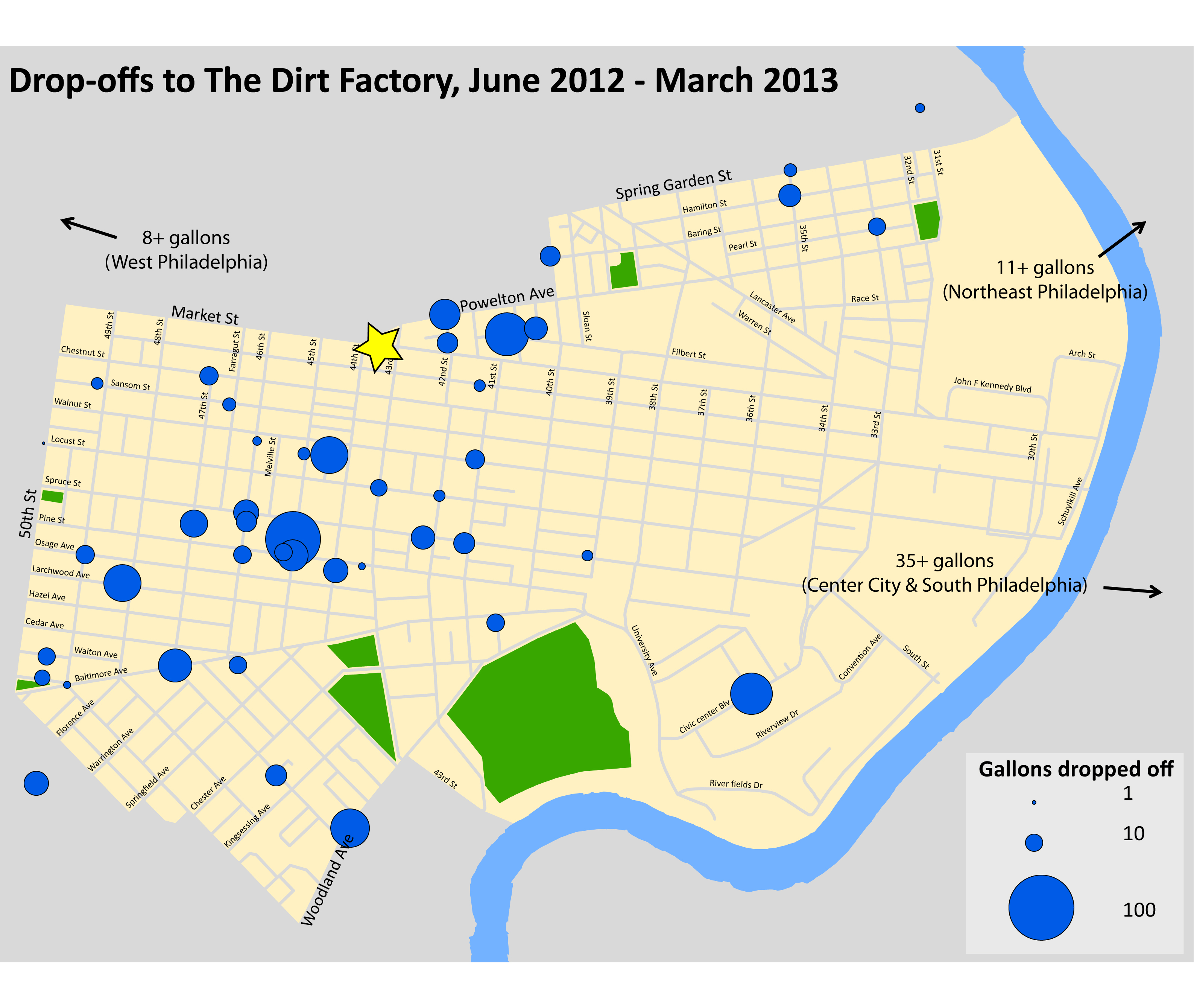 This catchment map shows where The Dirt Factory's compost comes from, Courtesy of UCD